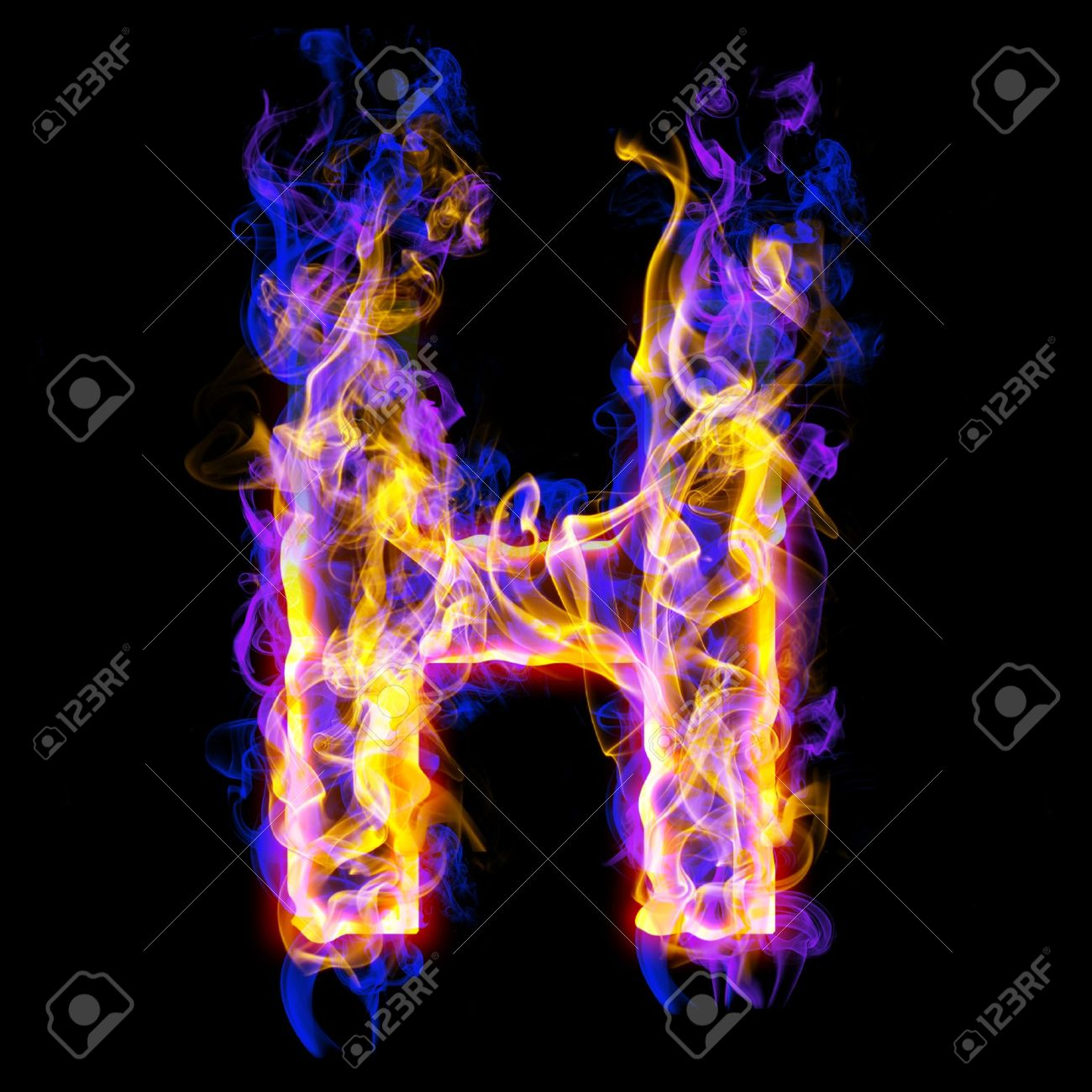 Fiery Font With Rose And Blue. Letter H Stock Photo 3babe0db8fa