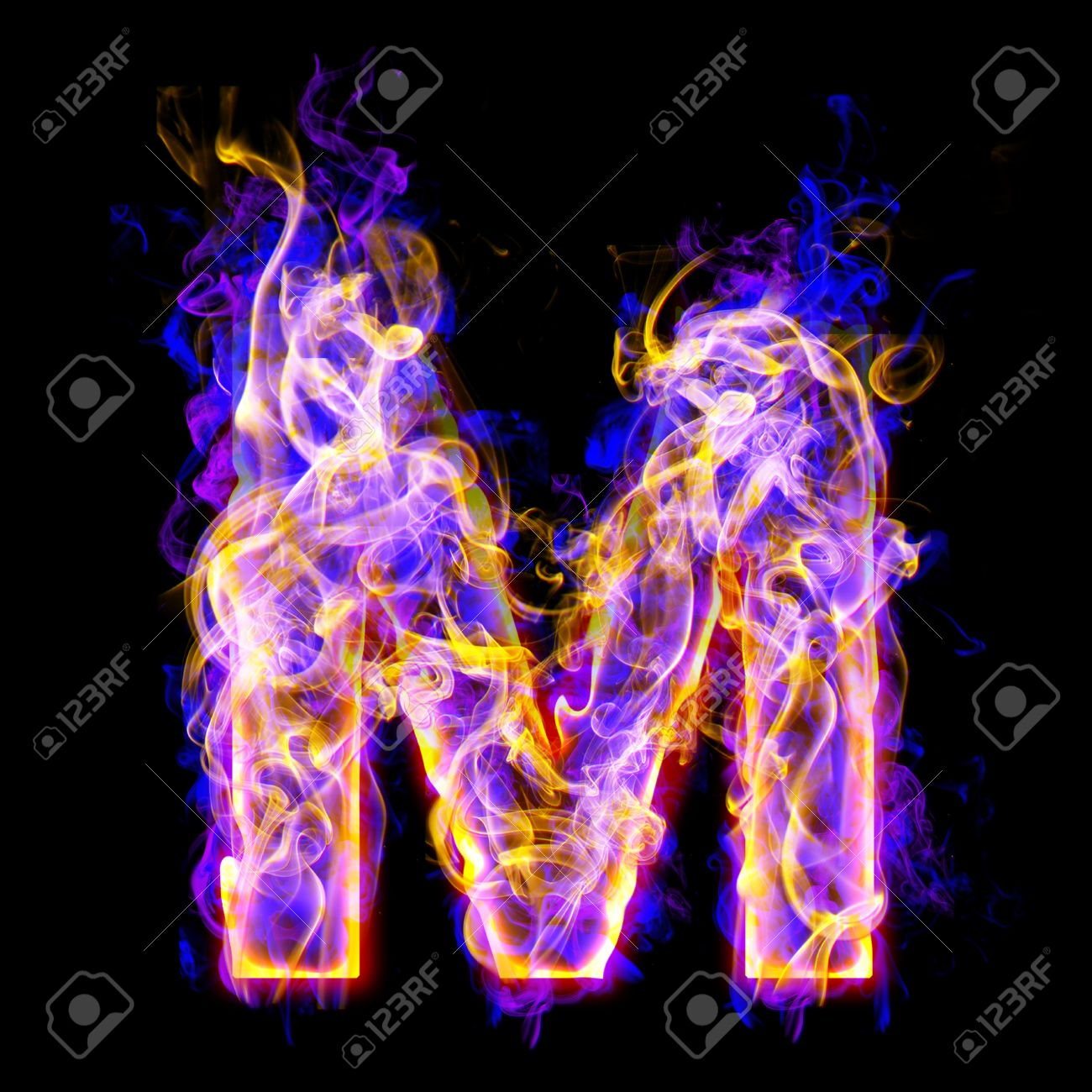 letter m burning with blue and pink colors stock photo, picture