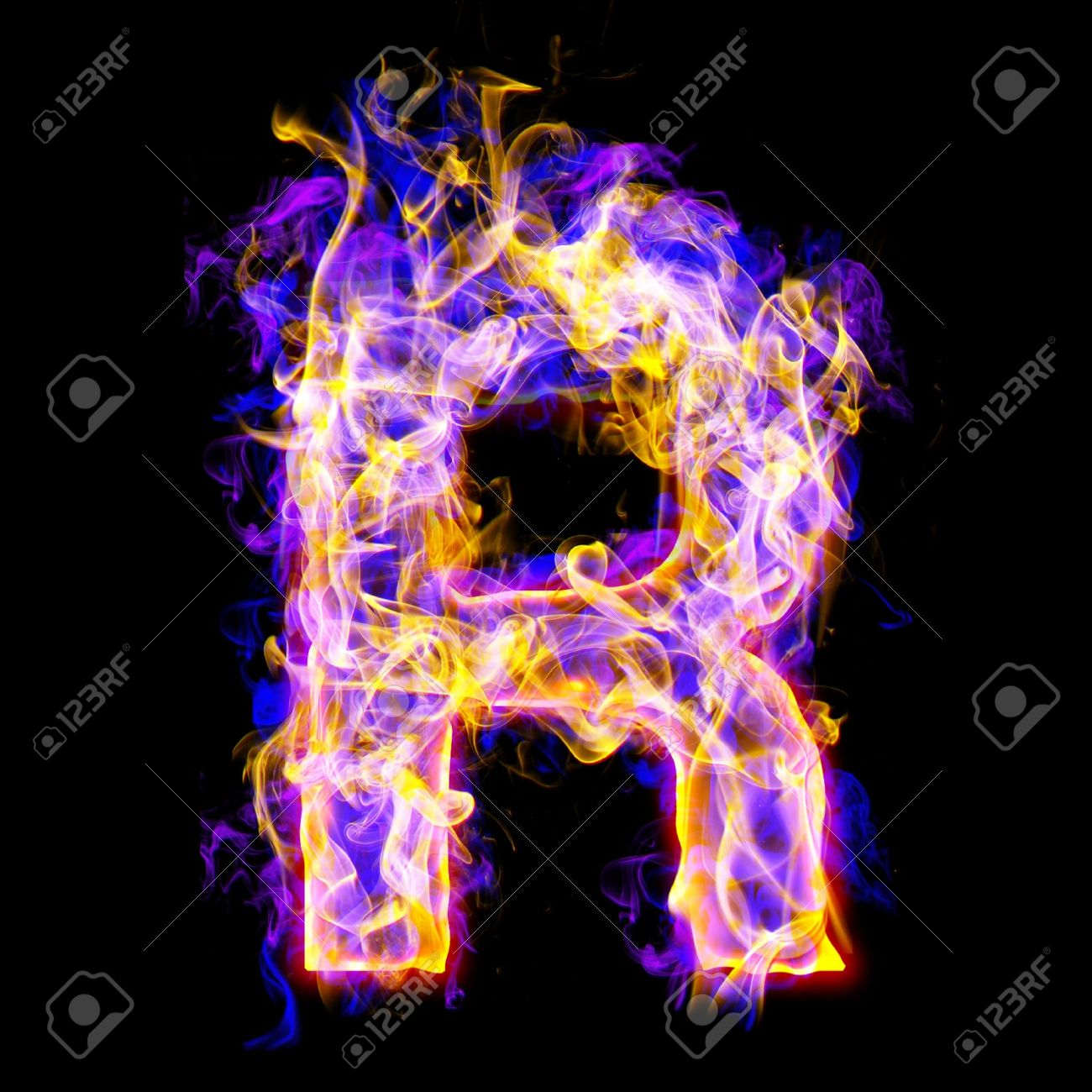 Letter R Burning With Blue And Pink Colors Stock Photo Picture And