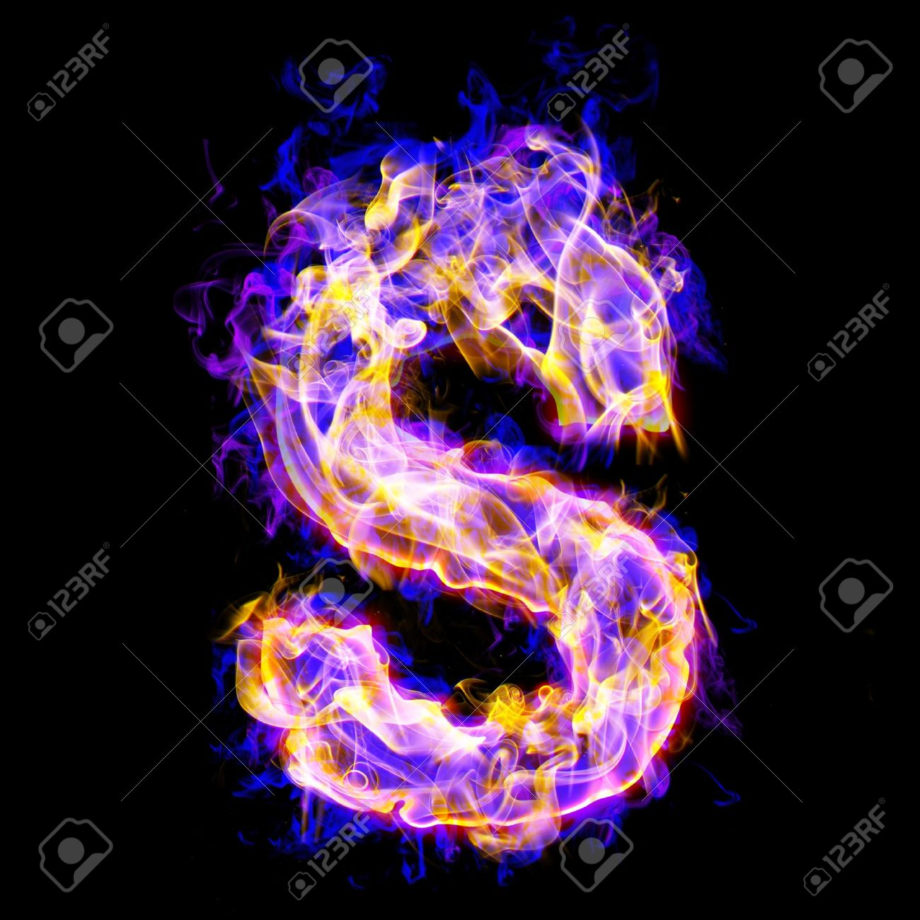 Letter S Burning With Blue And Pink Colors Stock Photo Picture And