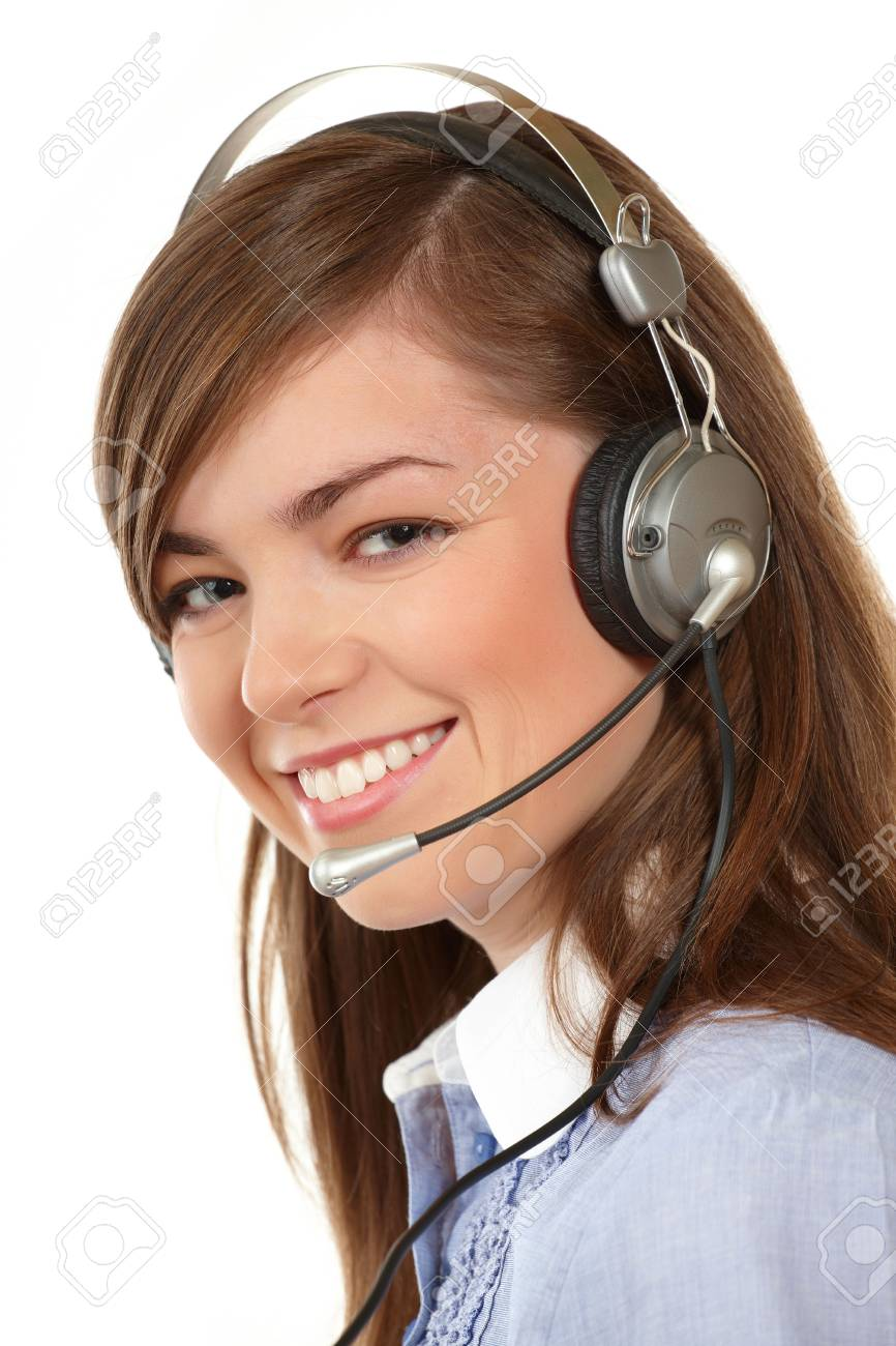 Close-up face of smiling woman in headphones on a white background Stock Photo - 4090524