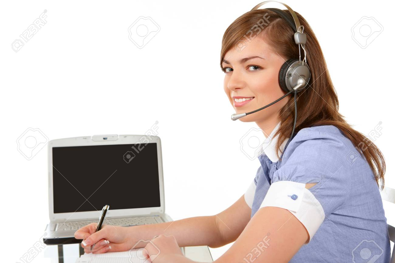 Smiling woman in headset working in office on a white background Stock Photo - 4152944