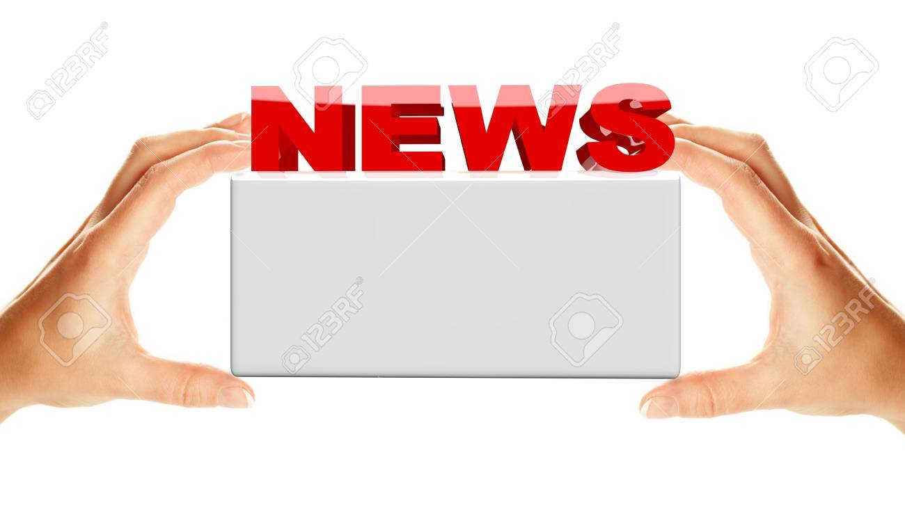 News word with banner holding by two female hands, isolated over white background Stock Photo - 6482369