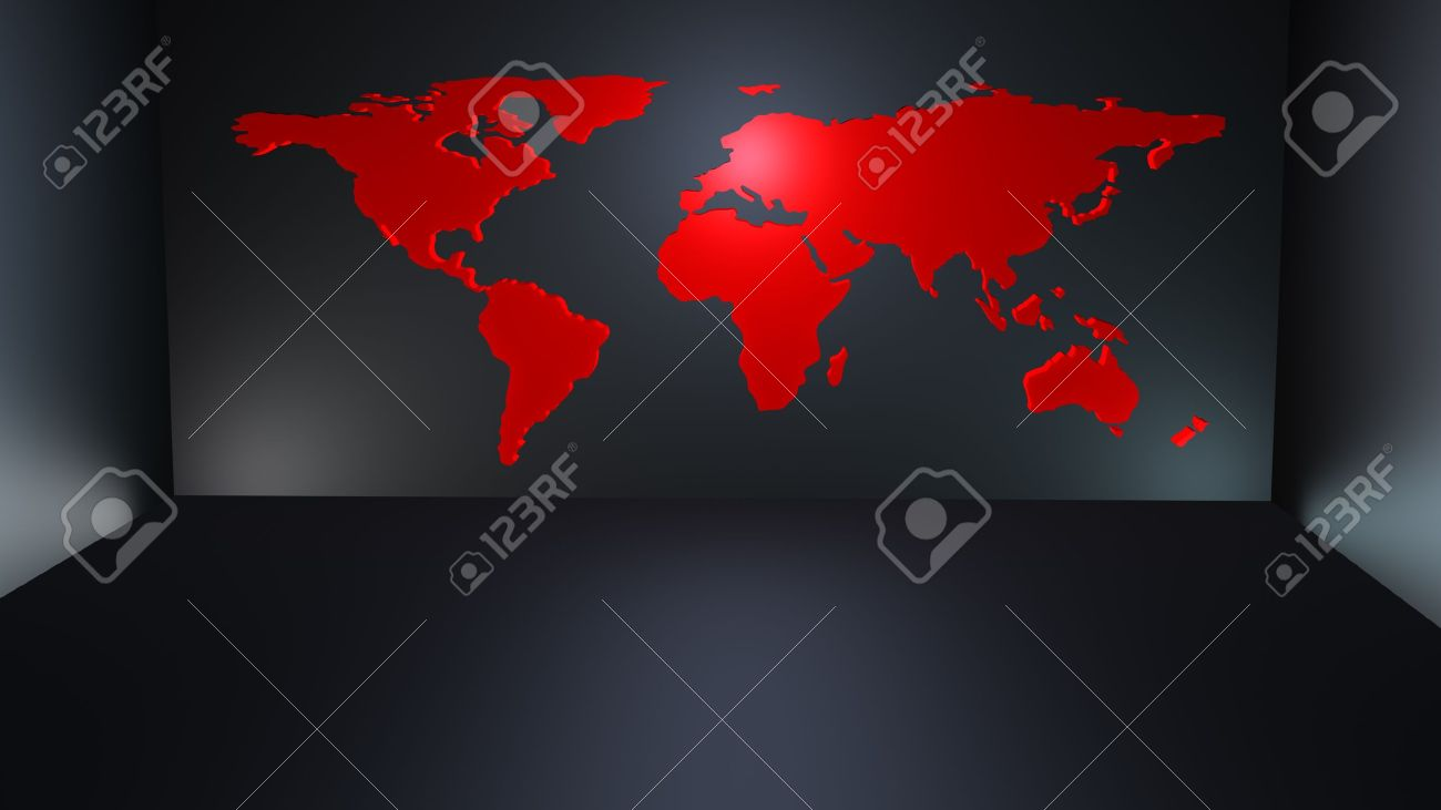 modern red world map as a kind of wallpaper in a dark modern stock