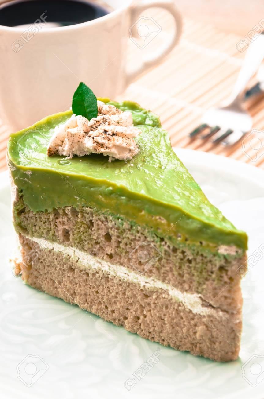 Japanische Matcha Kuchen Des Grunen Tees Tee Und Kuchen Lizenzfreie