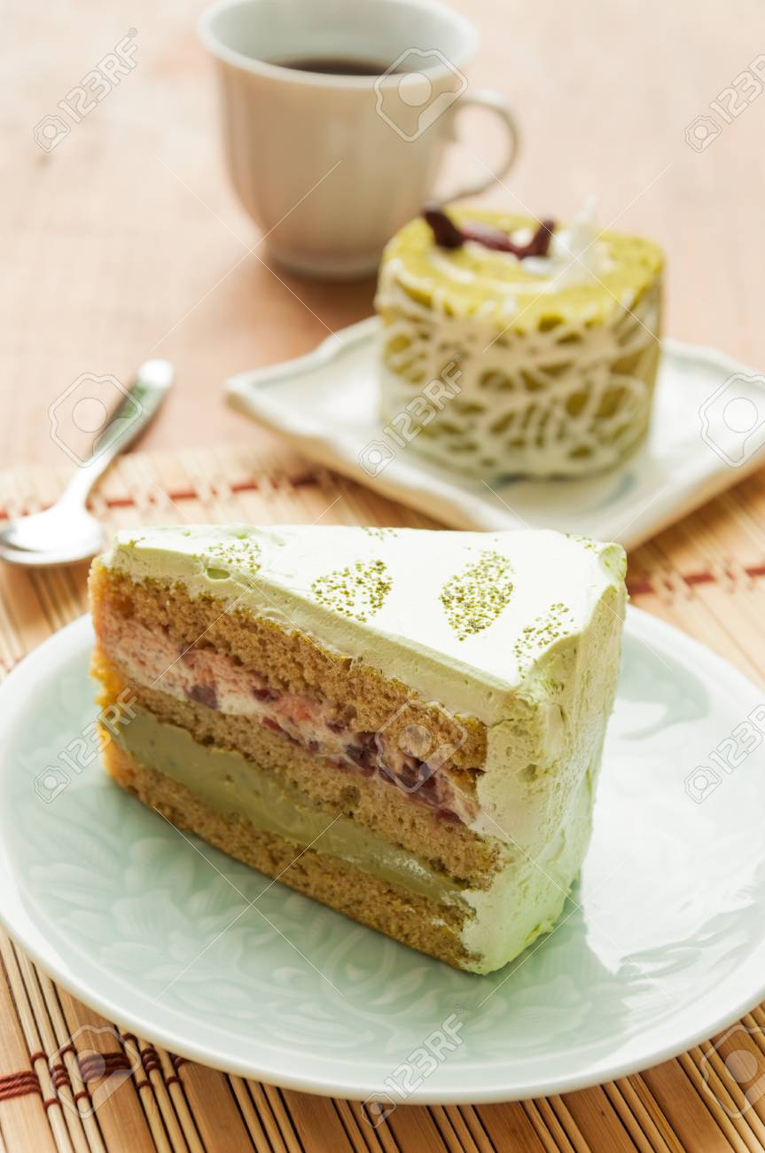 Japanese Matcha Green Tea Cake Coffee And Cake Stock Photo Picture