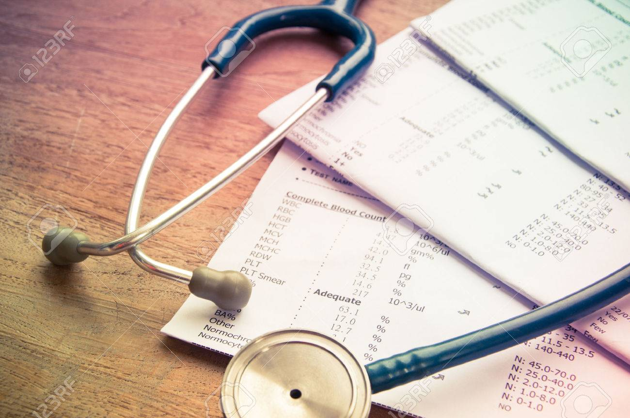 stethoscope and laboratory result, Medical insurance concept. - 36599165