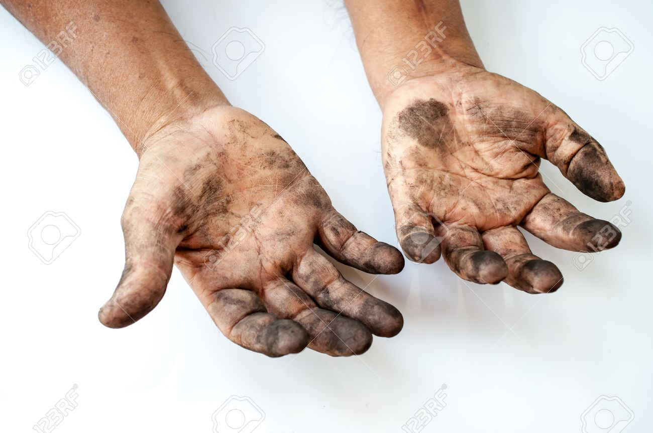 man with dirty hands - 37969969