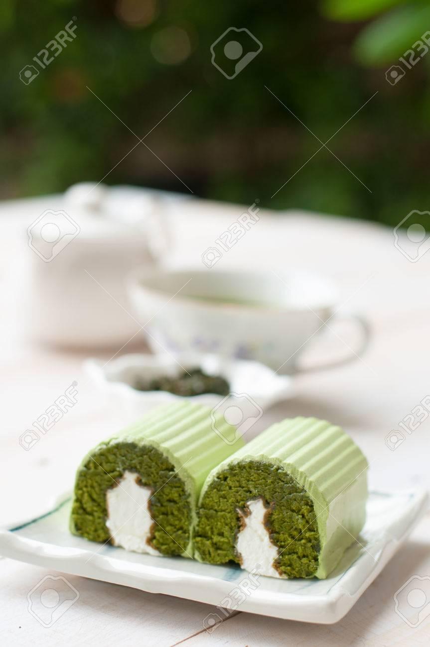 Japanische Matcha Gruner Tee Kuchen Tee Und Kuchen Lizenzfreie