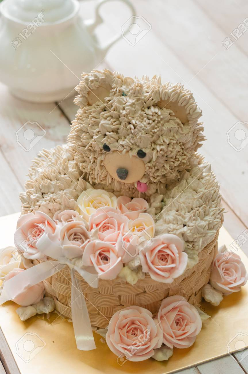 Admirable Buttercream Bear And Flower Cake For Happy Birthday Stock Photo Funny Birthday Cards Online Barepcheapnameinfo