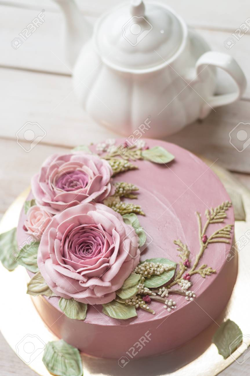 Buttercream Flower Cake Happy Birthday Cake Stock Photo Picture
