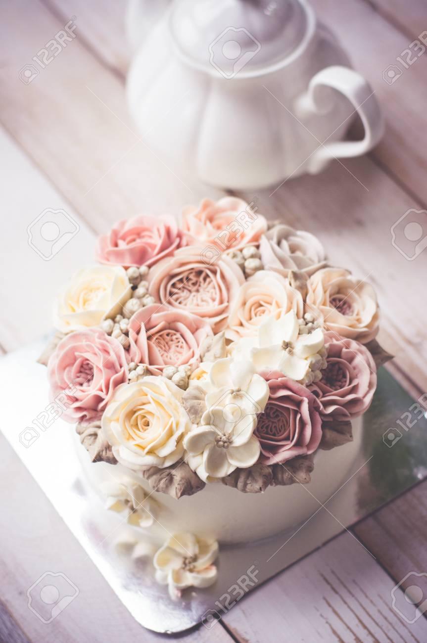 Astonishing Buttercream Flower Cake Happy Birthday Cake Stock Photo Picture Funny Birthday Cards Online Hetedamsfinfo