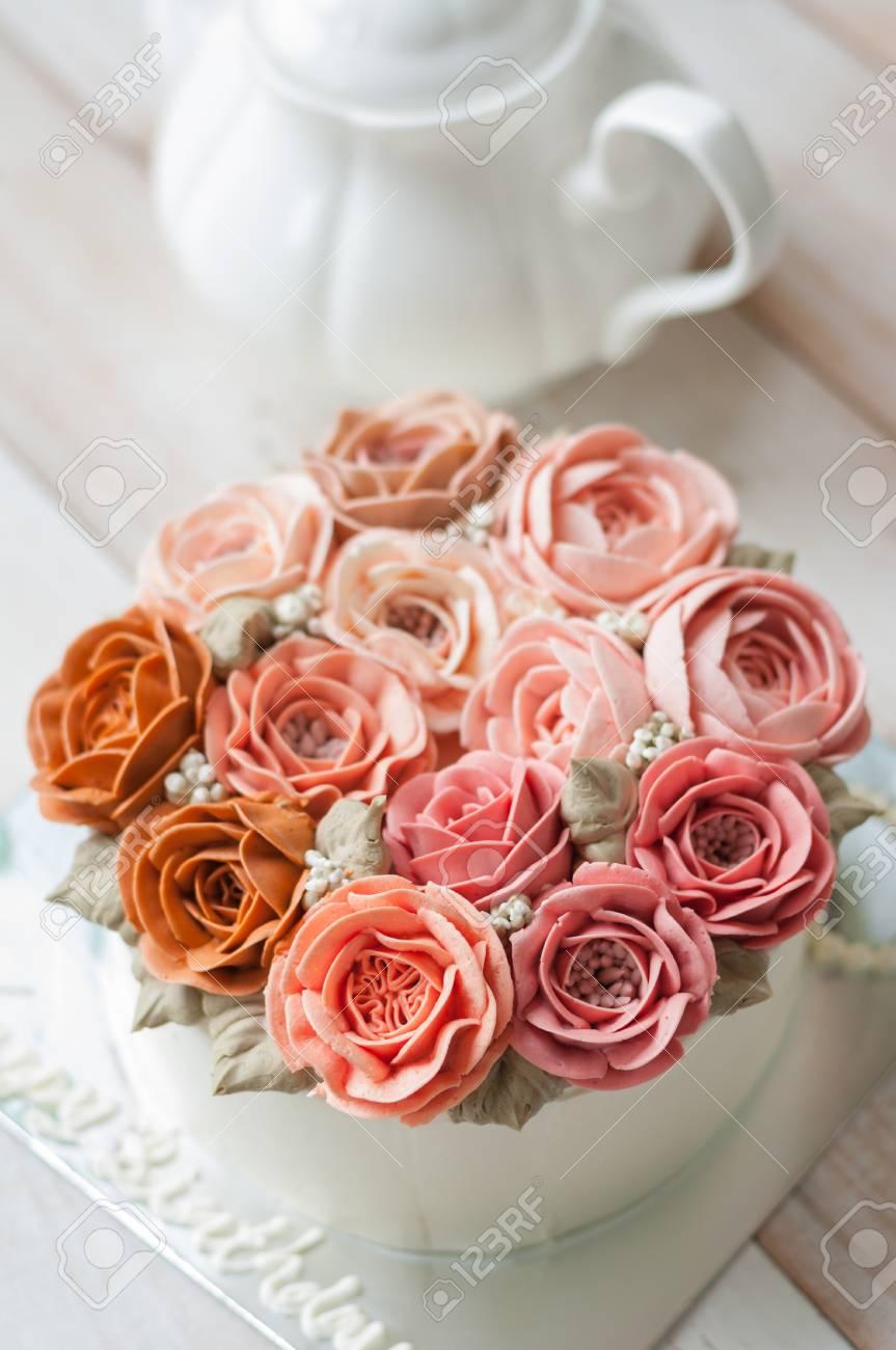 Buttercream Flower Cake, Happy Birthday Cake Stock Photo, Picture ...