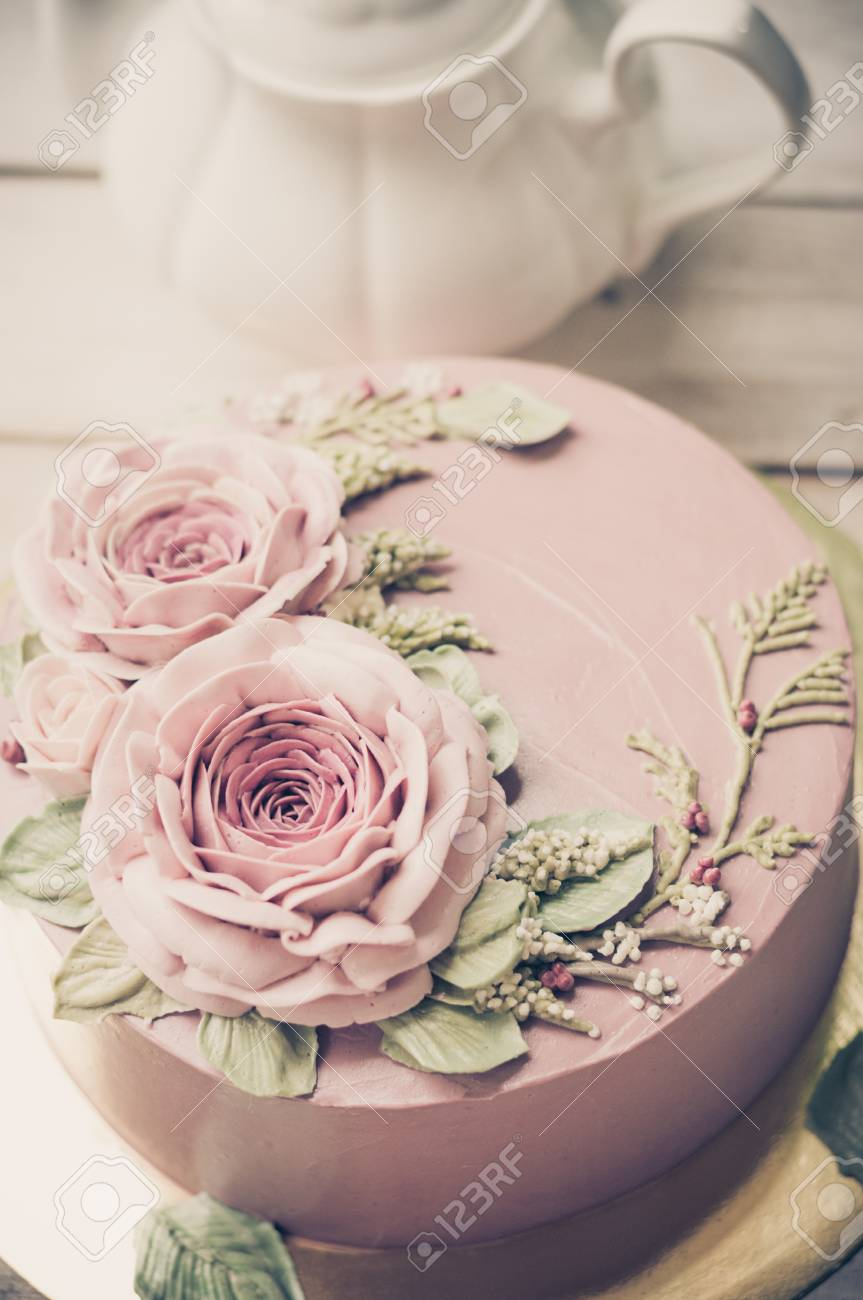 Buttercream Flower Cake Happy Birthday Stock Photo