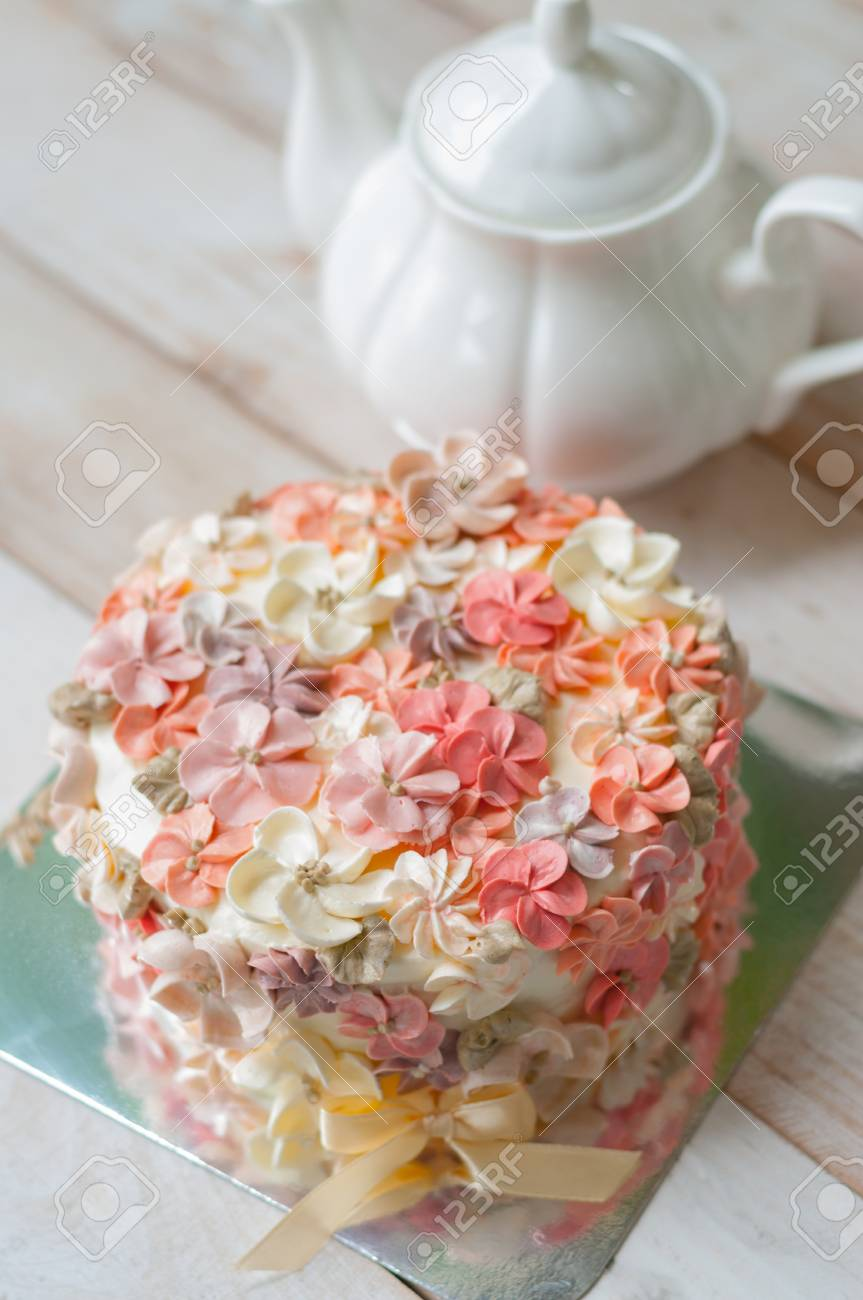 Peachy Buttercream Flower Cake Happy Birthday Cake Stock Photo Picture Birthday Cards Printable Benkemecafe Filternl