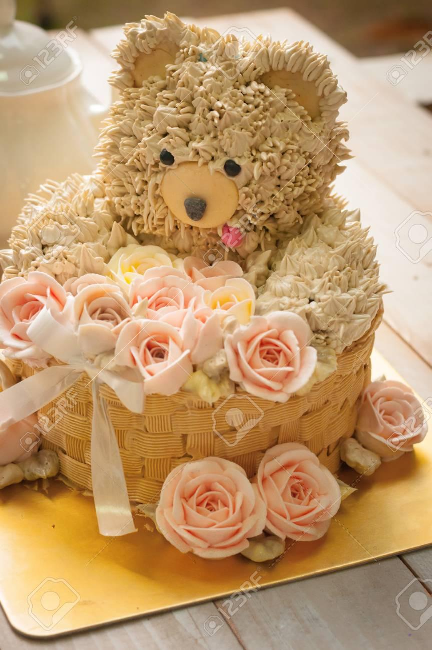 Enjoyable Buttercream Bear And Flower Cake For Happy Birthday Stock Photo Funny Birthday Cards Online Barepcheapnameinfo