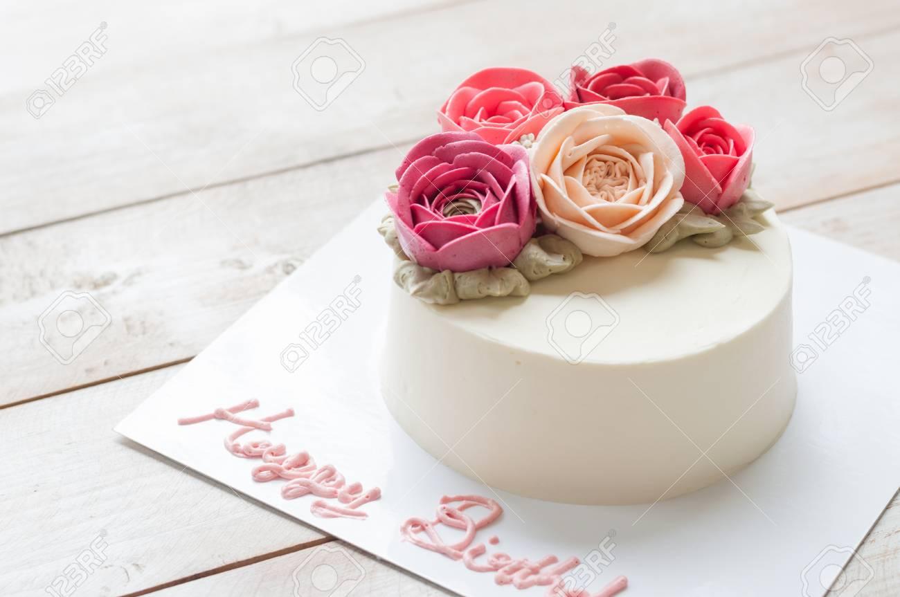 Peachy Butter Cream Rose Flower Cake With Word Happy Birthday Stock Funny Birthday Cards Online Elaedamsfinfo