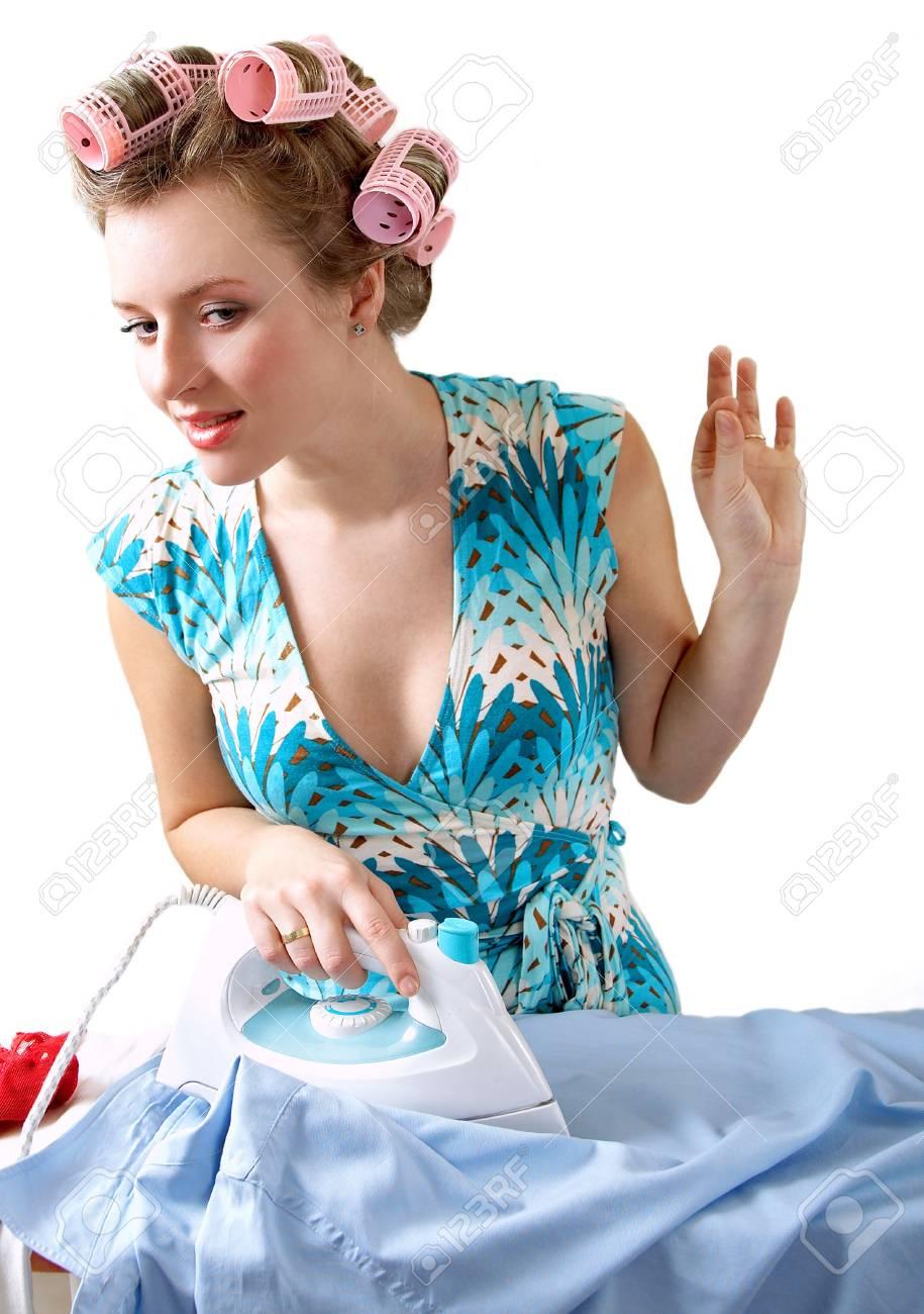 beautiful woman irons shirt Stock Photo - 908799
