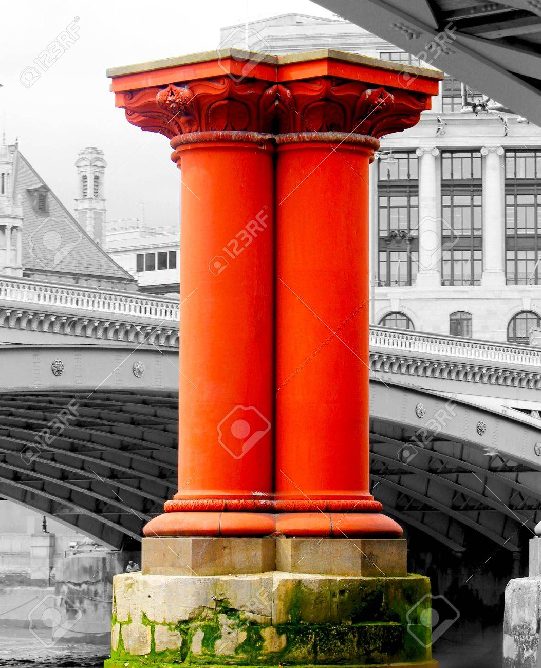 Red pillar on River Thames Stock Photo - 18285242