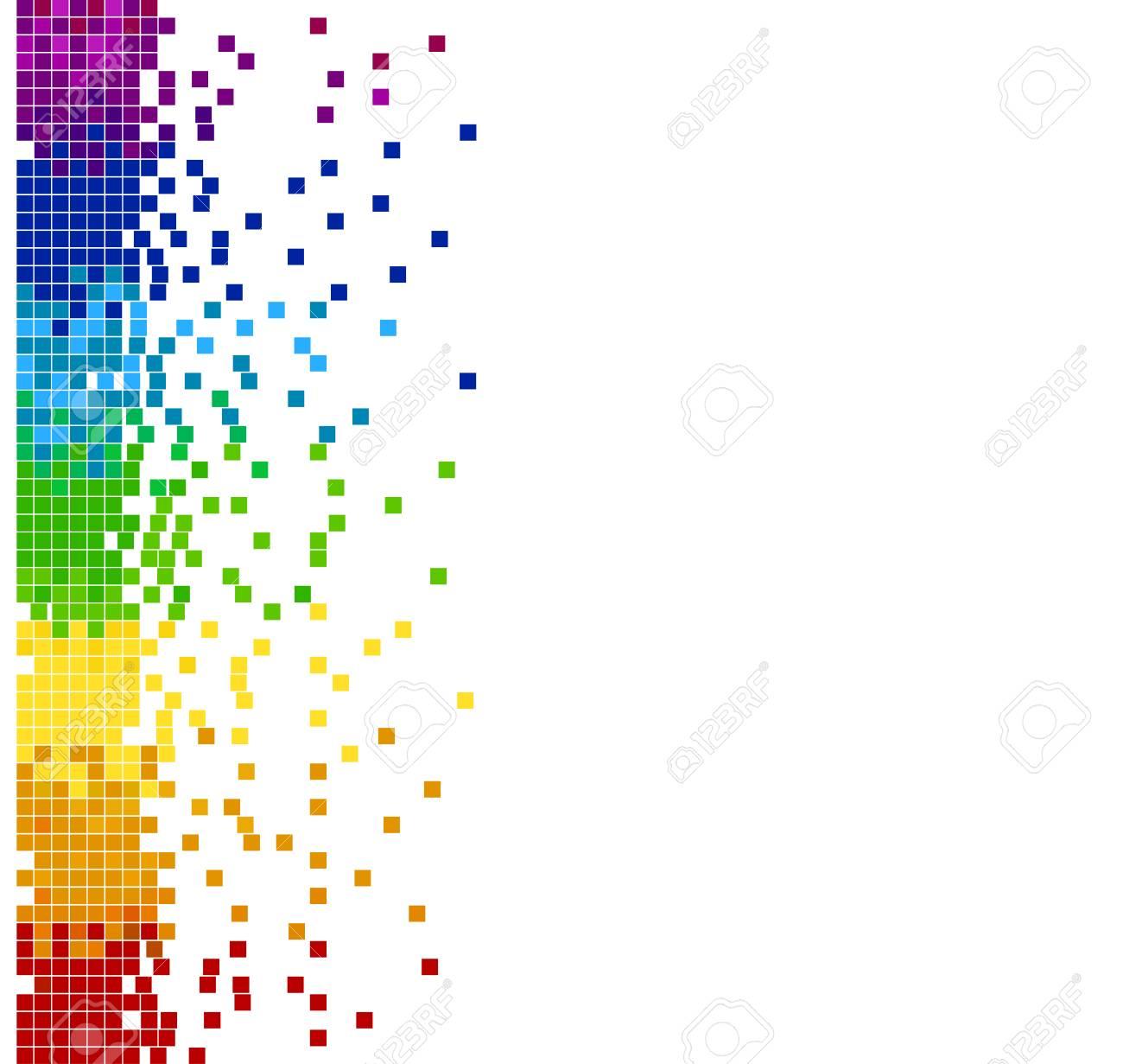 明るいの垂直色モザイクのピクセル ブロックベクトル イラスト - 背景色