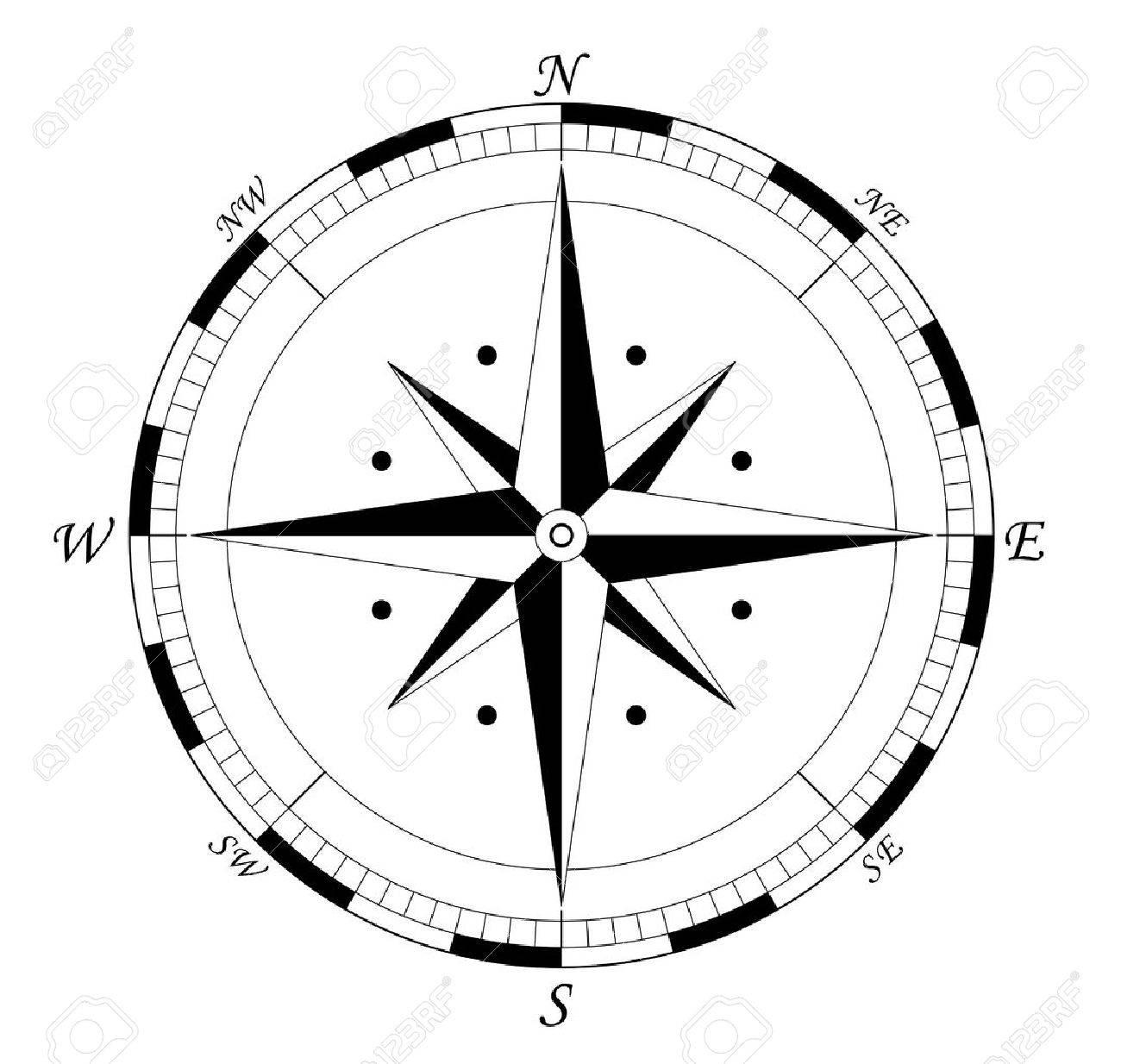 compass navigation wind rose vector illustration fully editable