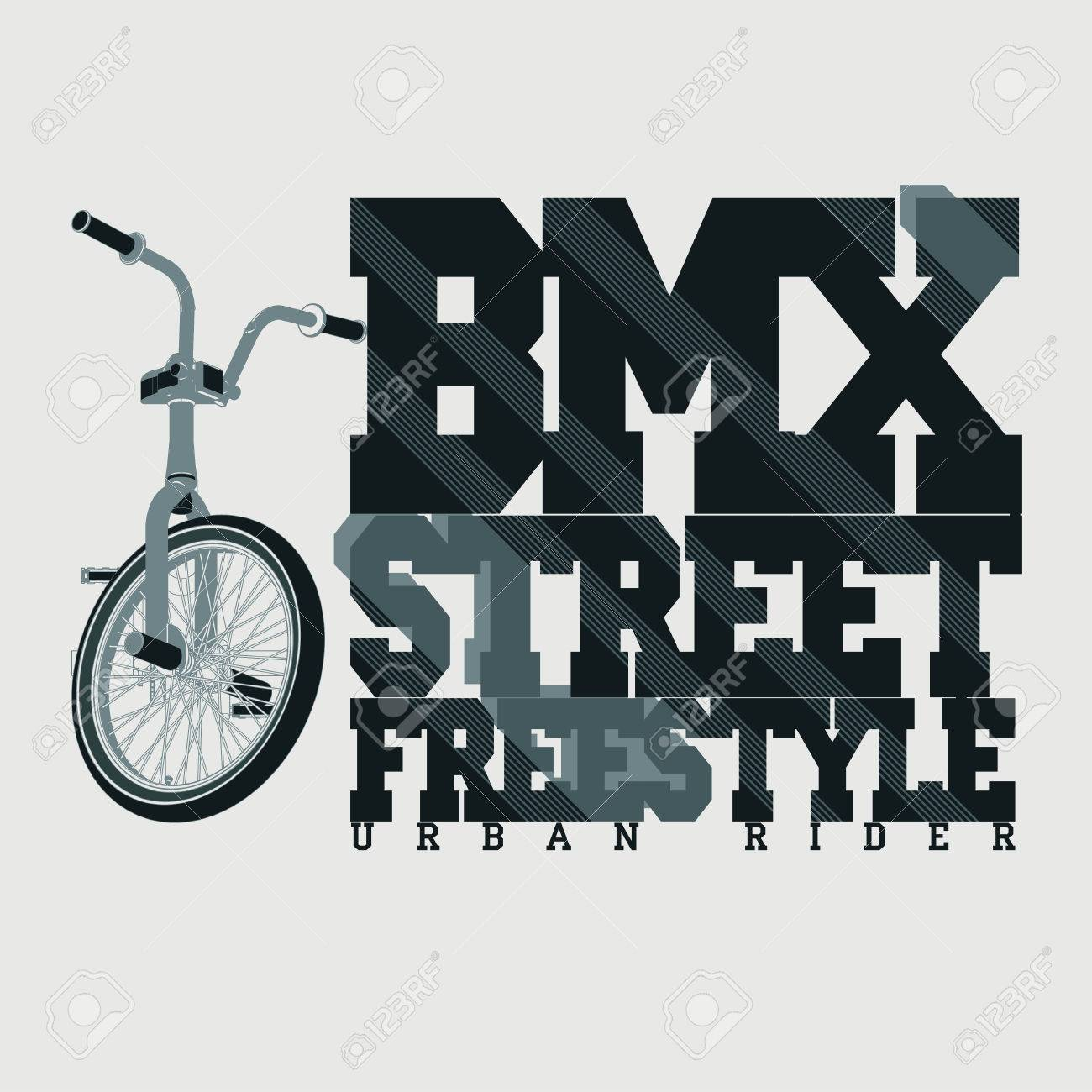 BMX Riding Typography Graphics. Extreme bike street style. T-shirt Design,  Print