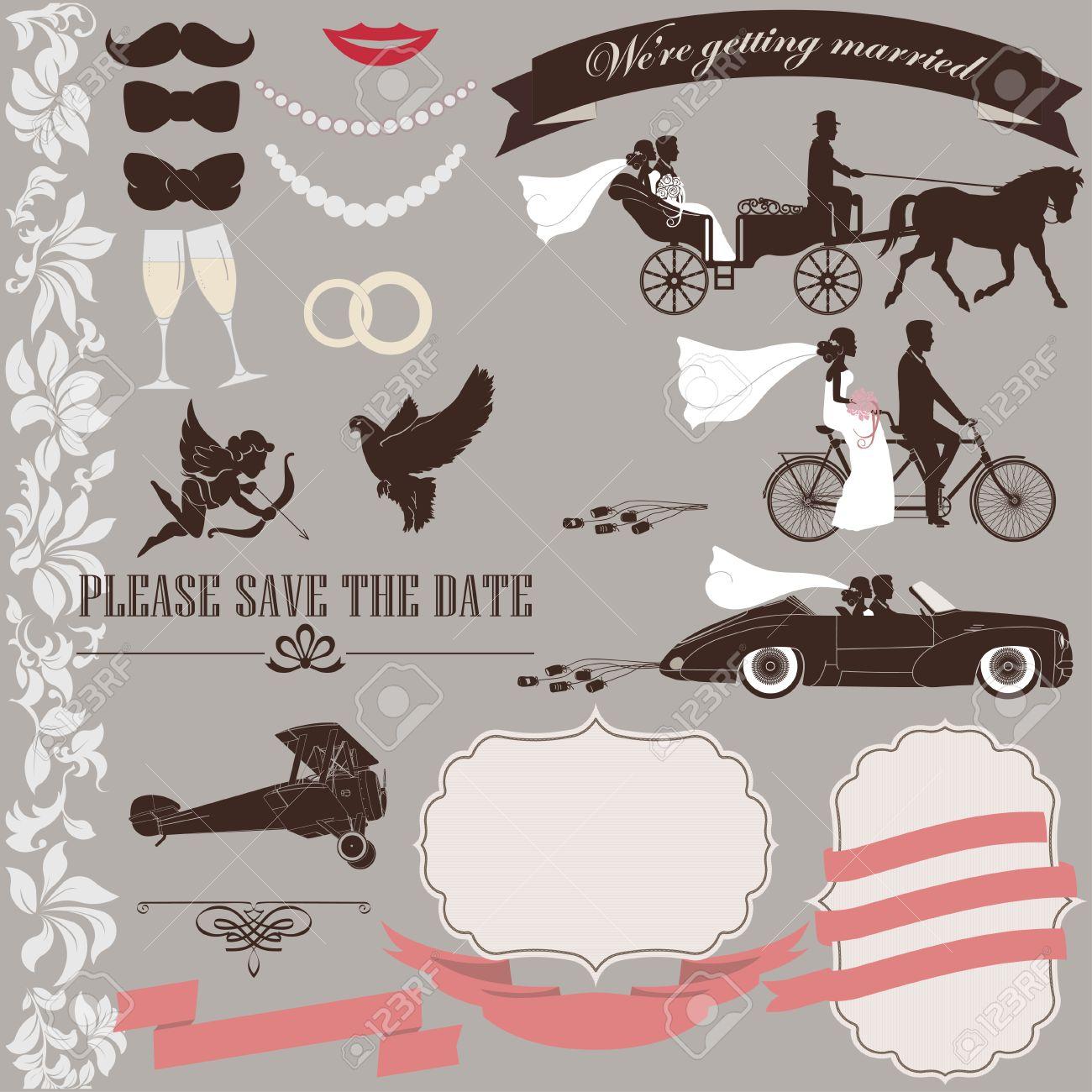 Hochzeitseinladung Elemente Gesetzt Vintage Design. Tandem Fahrrad, Braut,  Bräutigam, Retro Auto