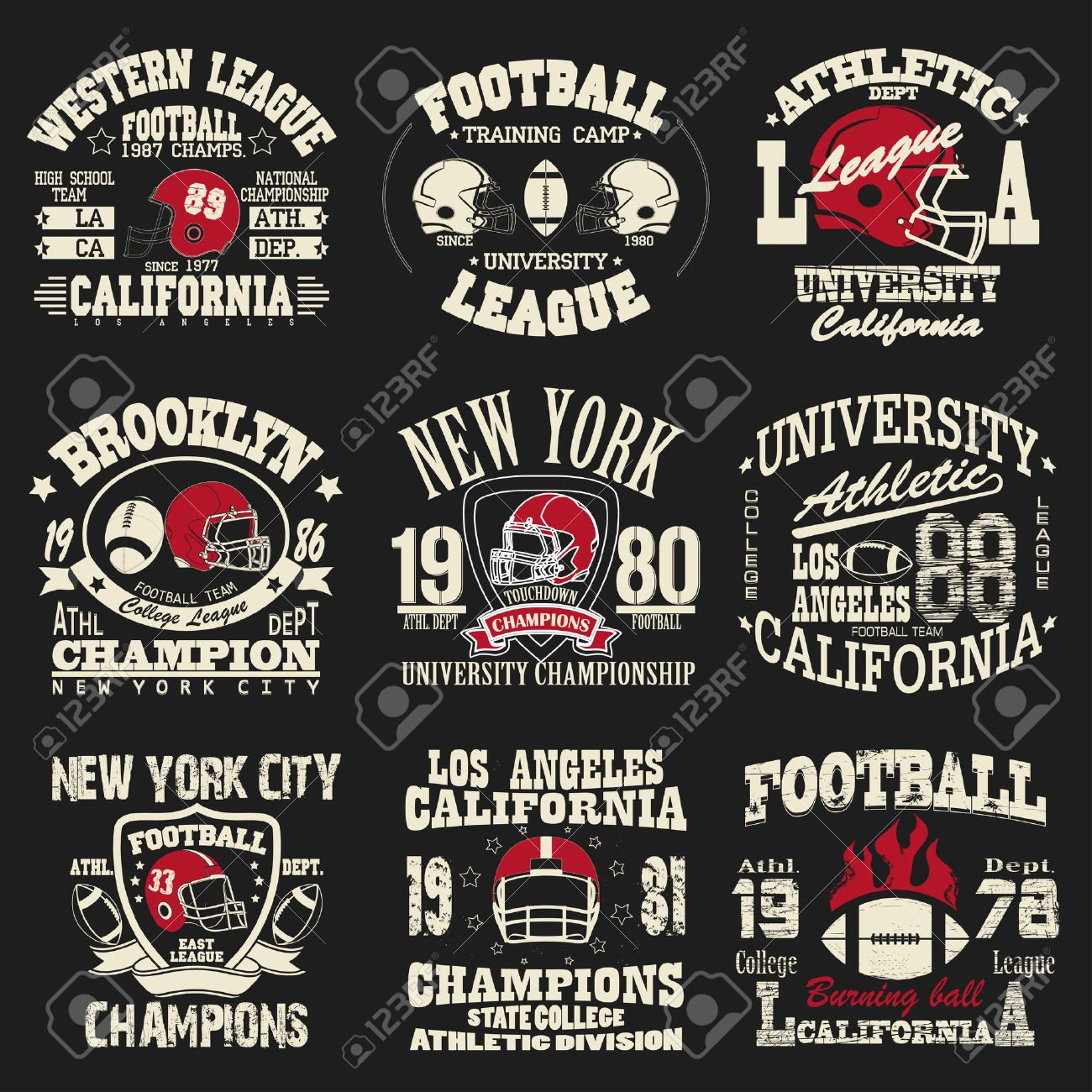 Football Logo Set Athletic T Shirt Fashion Design Sport Typography Royalty Free Cliparts Vectors And Stock Illustration Image 47378595