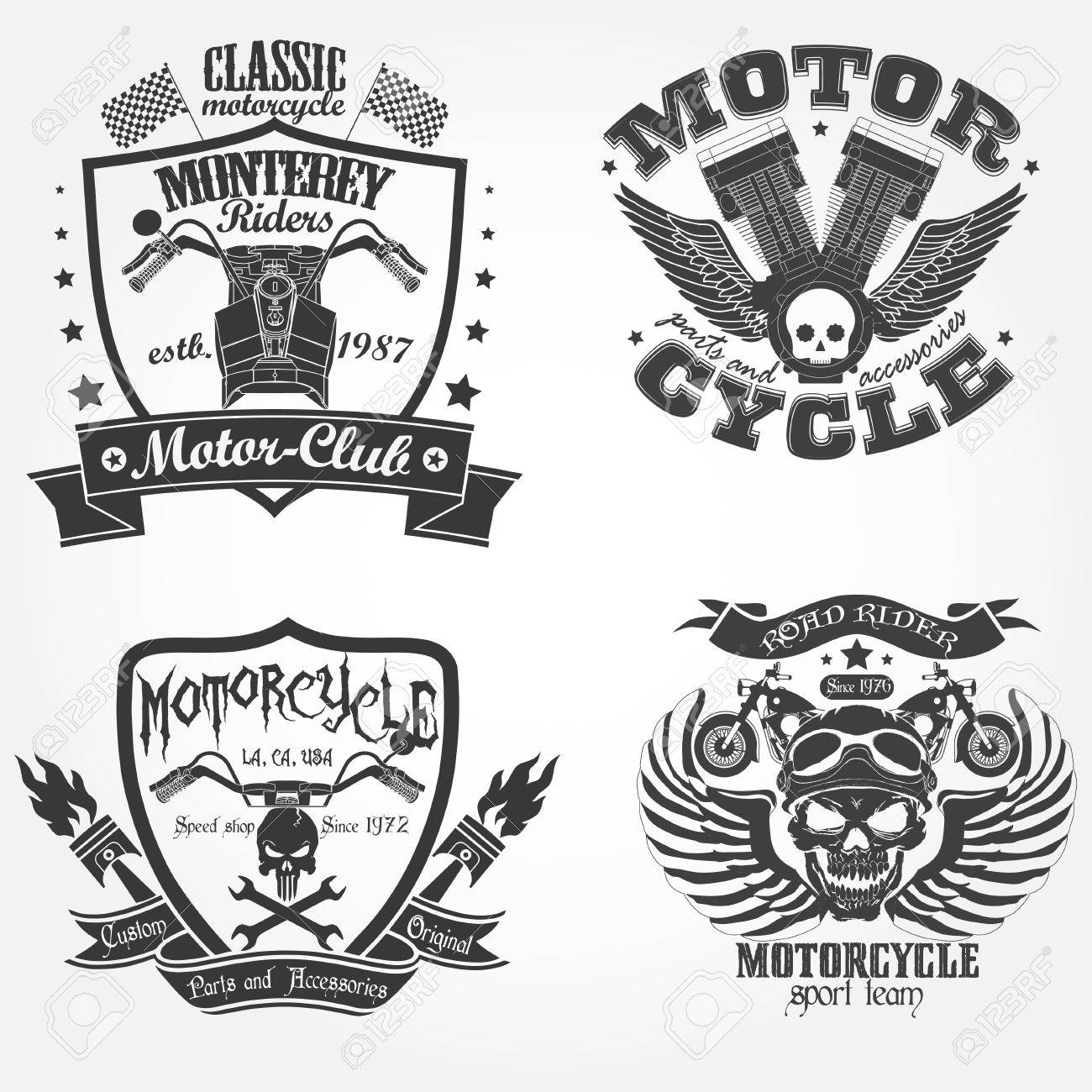 Motorcycle Label Set Motor Shop Print Logo Riders Team Emblem