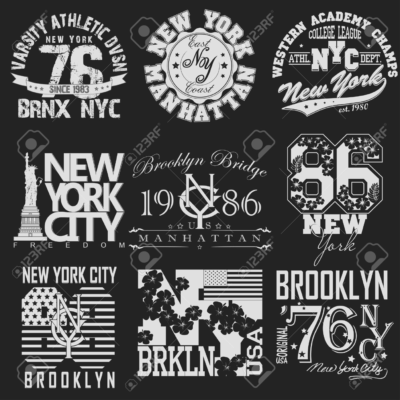 Design t shirt label - New York City Typography Graphics Logo Set T Shirt Printing Design Nyc Original