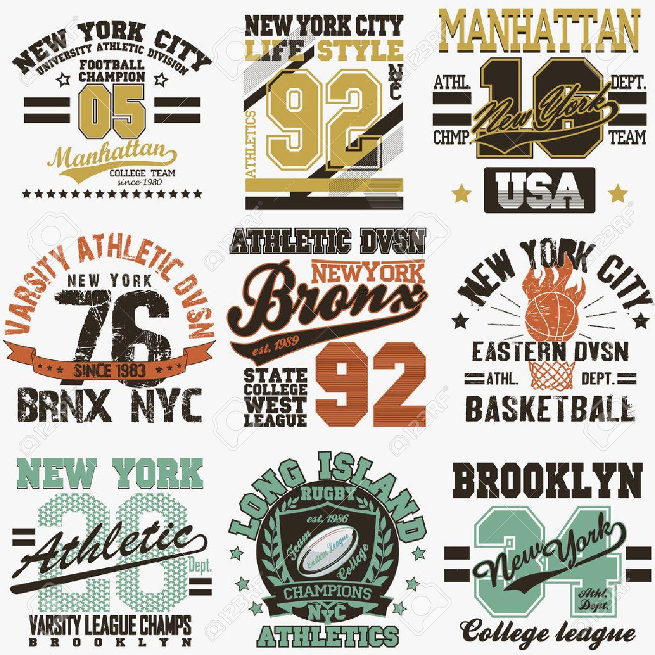 Design t shirt universiti - New York City Typography Graphics Logo Set T Shirt Printing Design Nyc Original