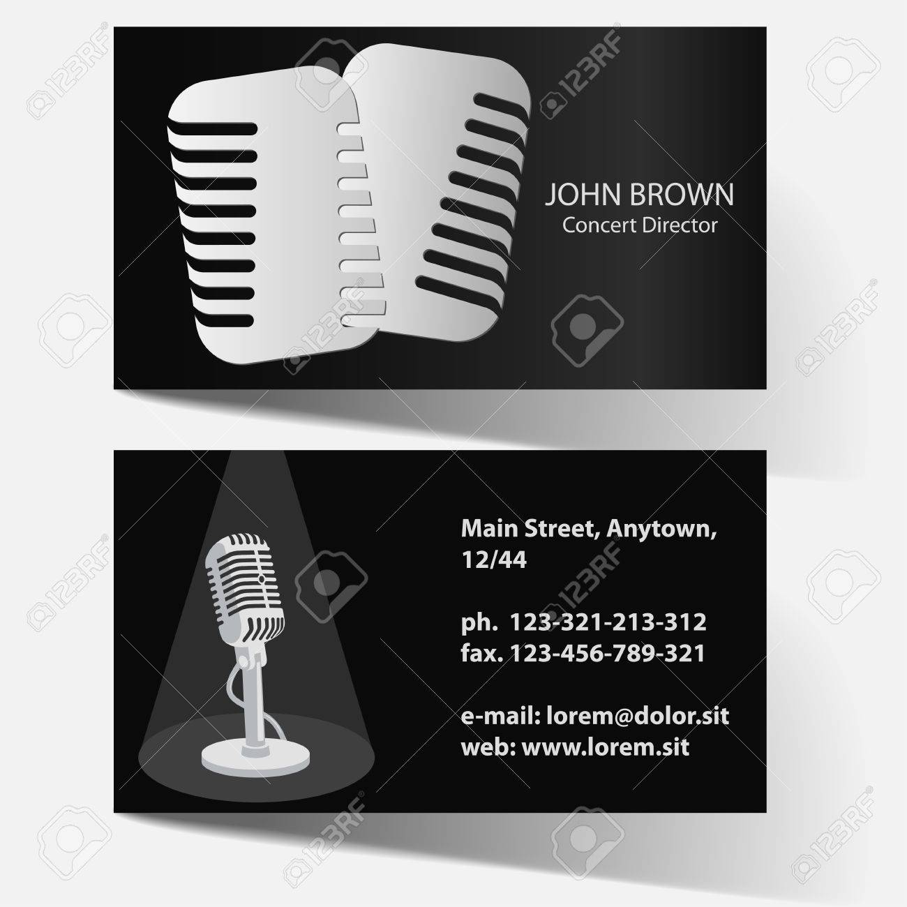 artiste business card with vintage microphone actor of theater