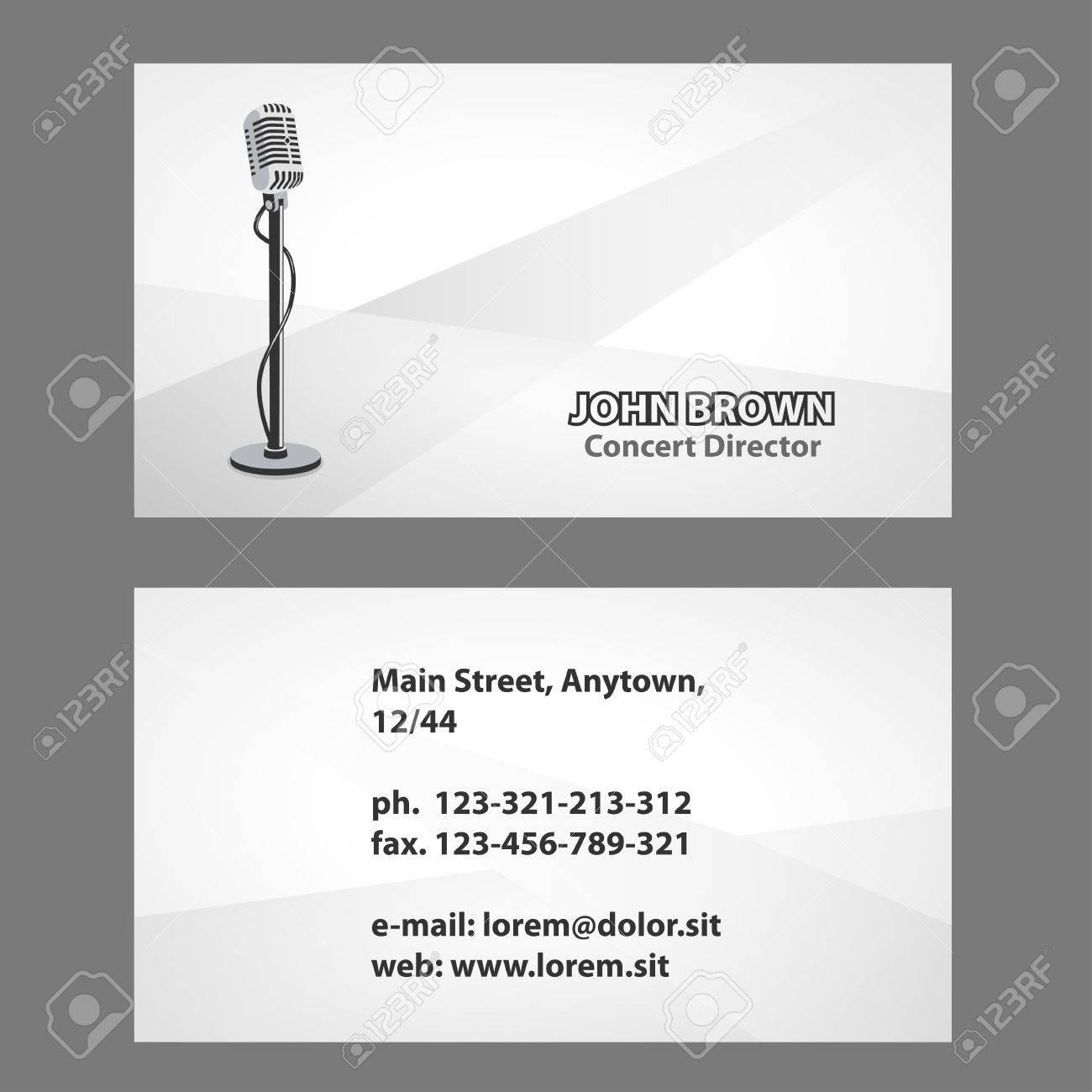 Carte De Visite Artiste Avec Microphone Vintage Acteur Theatre