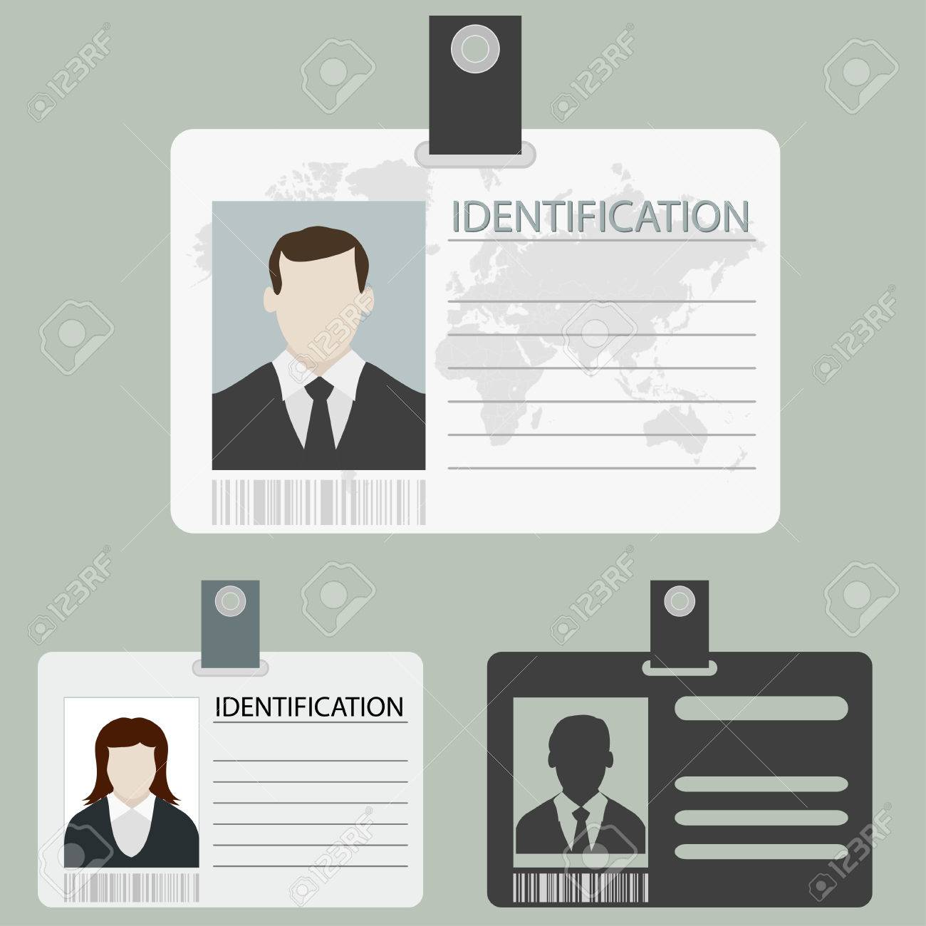 Tarjeta De Identificación Configurado Con Plantillas De La Foto ...