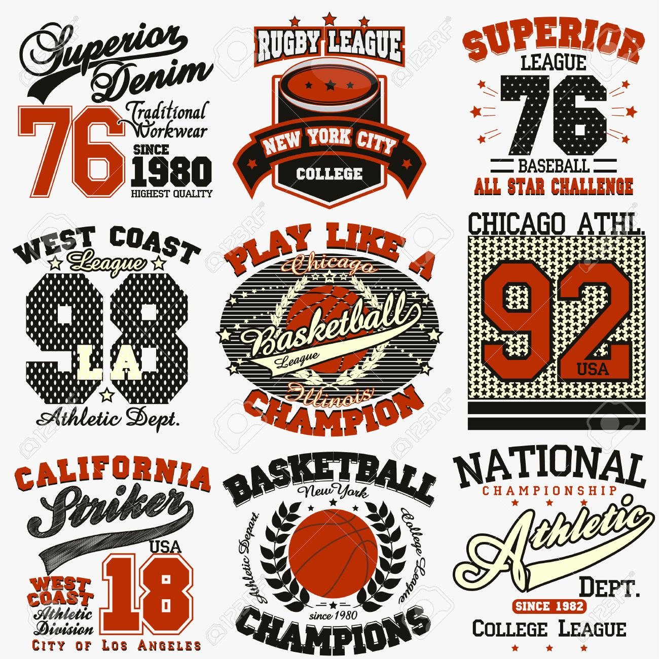 Sport Typography Graphics Logo Set T Shirt Printing Design Royalty