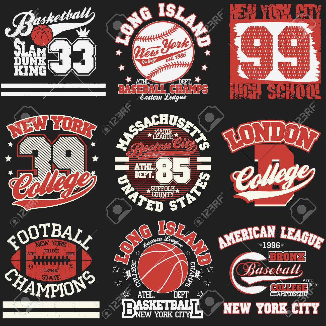 Sport Typography Graphics Logo Set T Shirt Printing Design