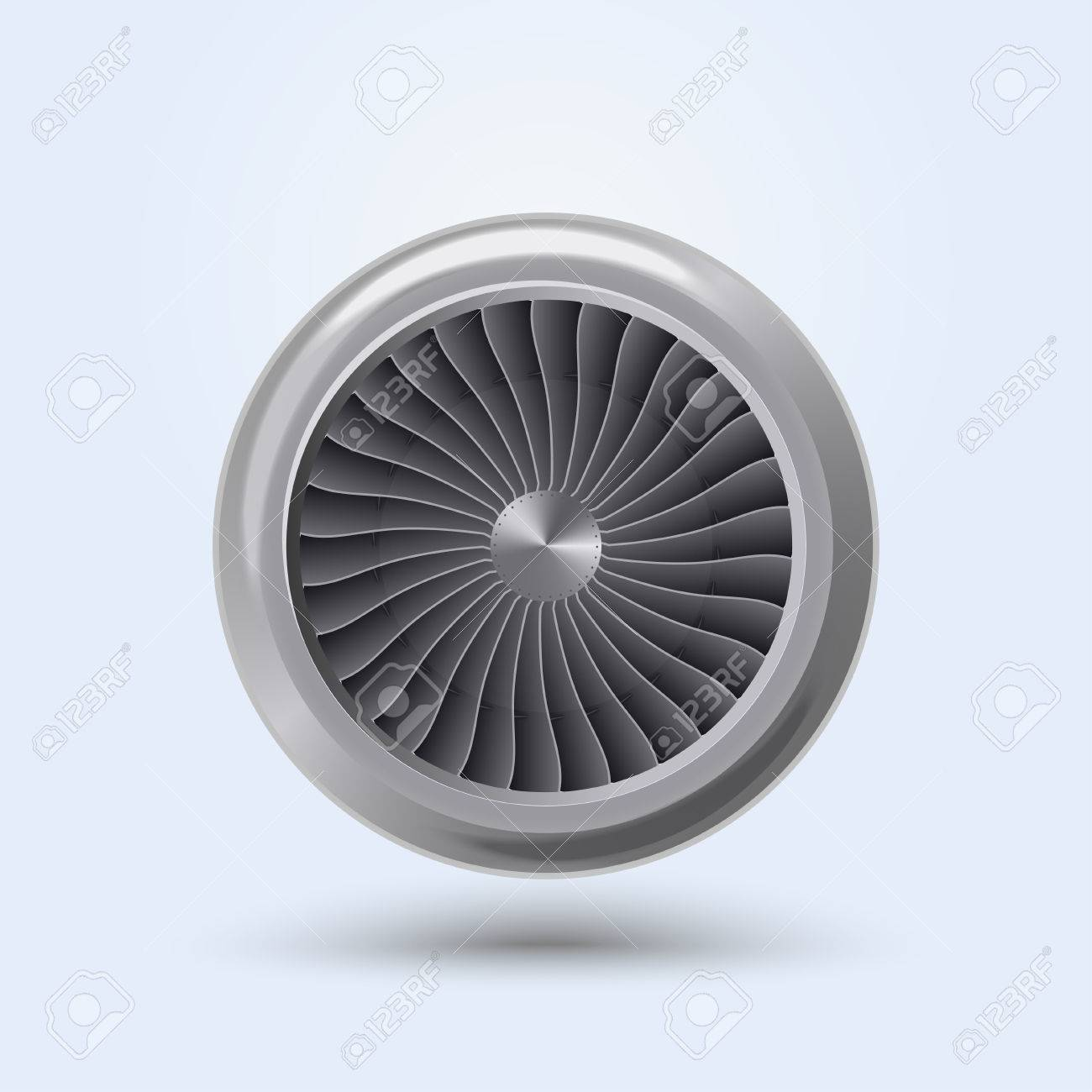 Jet Engine Realistic front view, aircraft turbine energy fan. Vector - 48534002