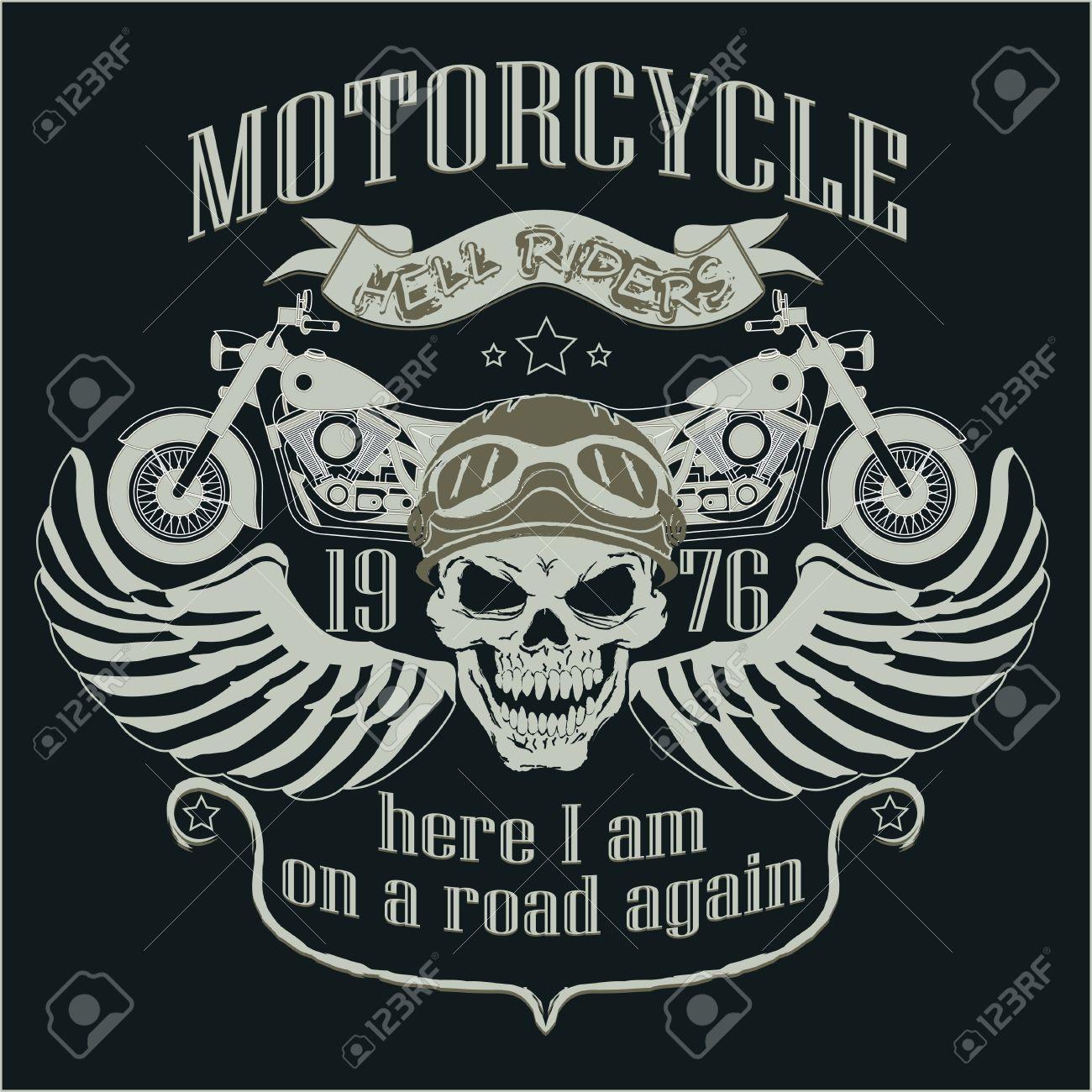 Motorrad-Design-Vorlage Zu Treten. Schädel-Fahrer. Biker T-Shirt ...
