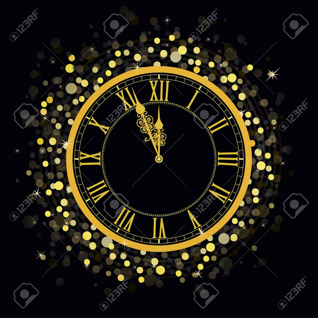 golden new year clock on a glowing background with bright sparkle lights and shiny spots