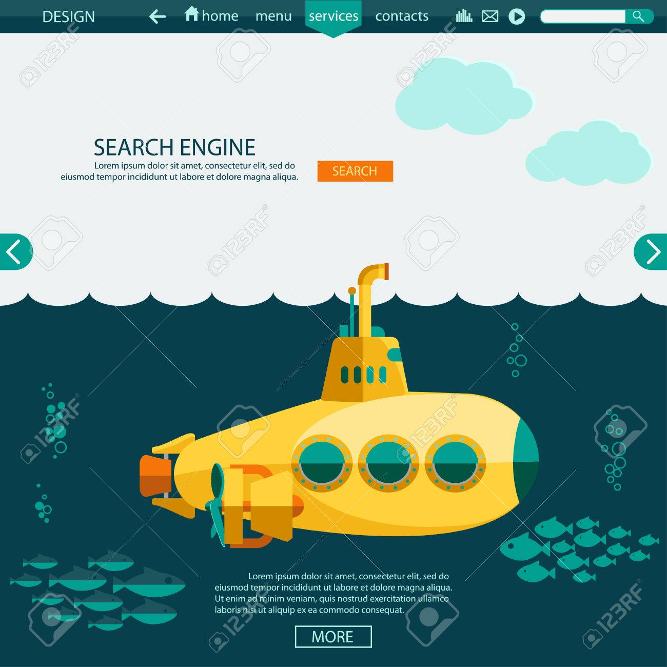 Submarine Undersea Flat Design. SEO Website Template, Searching ...