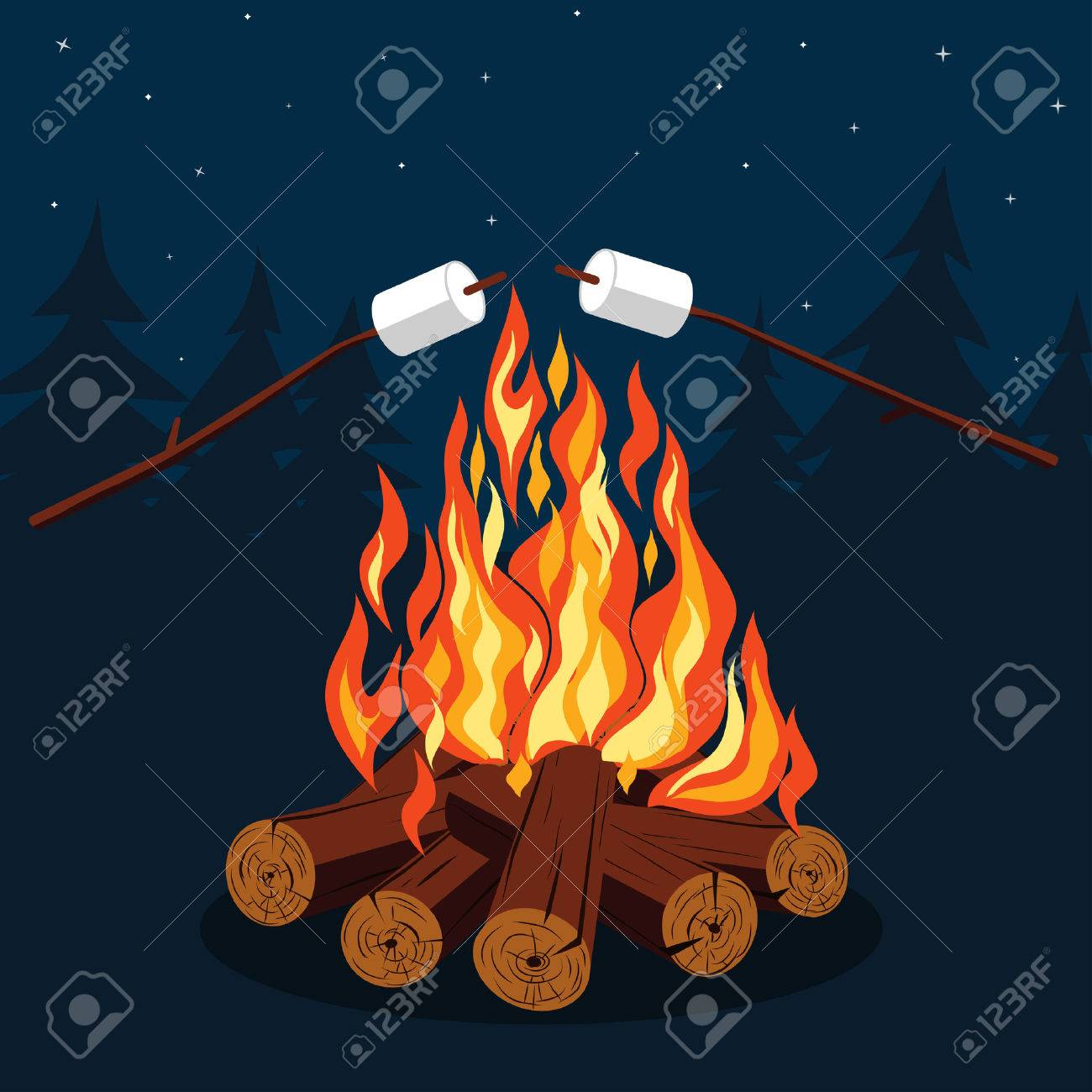 Bonfire with marshmallow - camping, burning woodpile. - 50127839