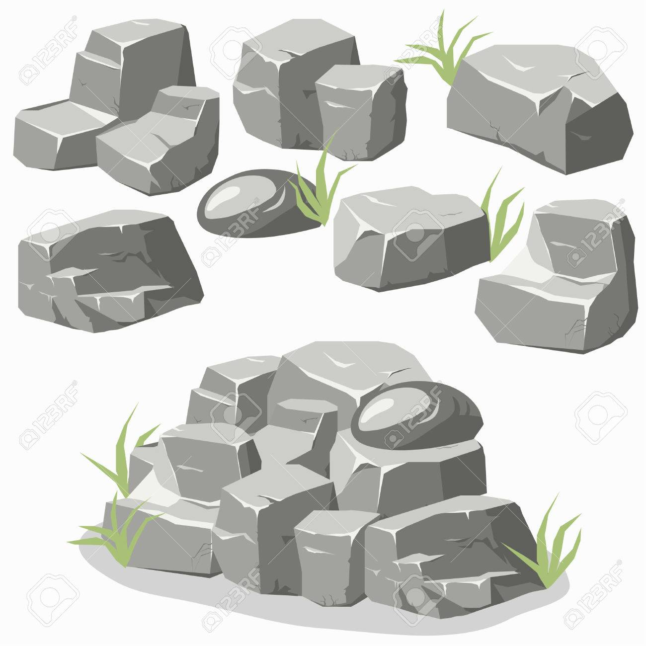 Rock stone set with grass. Stones and rocks in isometric 3d flat style. Set of different boulders - 52254837
