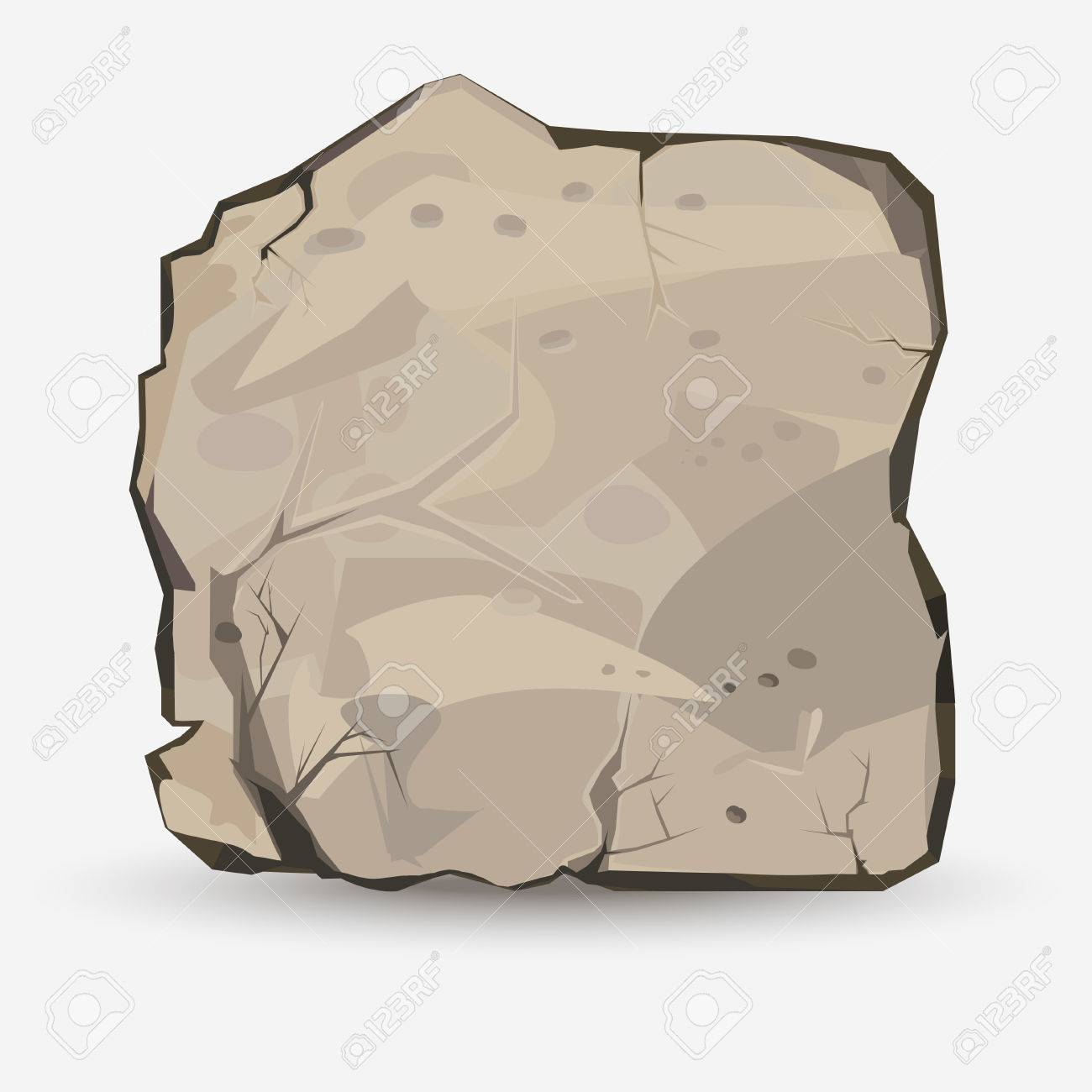 Rock stone in style. Big boulder. Mineral background. Vector - 52255533