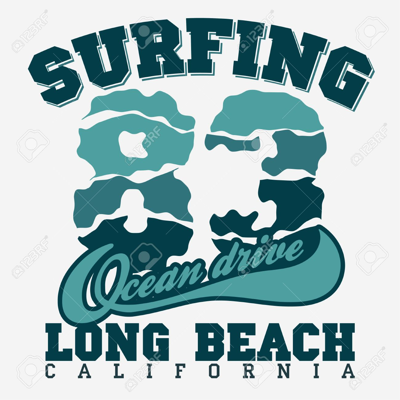 Surfing t-shirt graphic design  Long Beach surfing  California