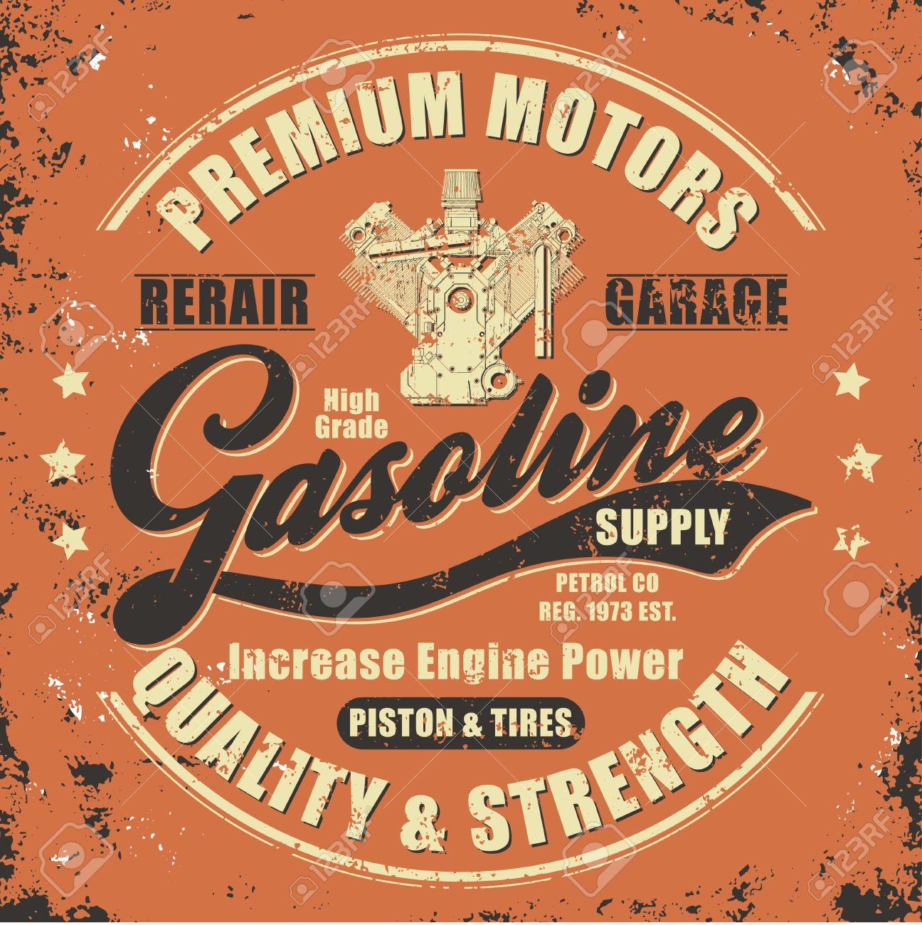 Design t shirt vintage - Vintage Gasoline Retro Label For T Shirt Typography Graphics Retro Style Tee Design Stock
