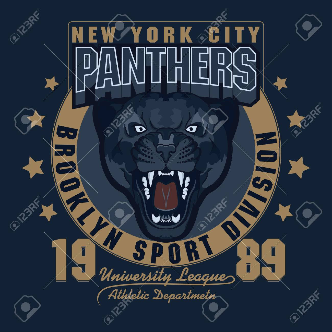 Panther Sport T Shirt Graphics Vintage Apparel Typography Artwork
