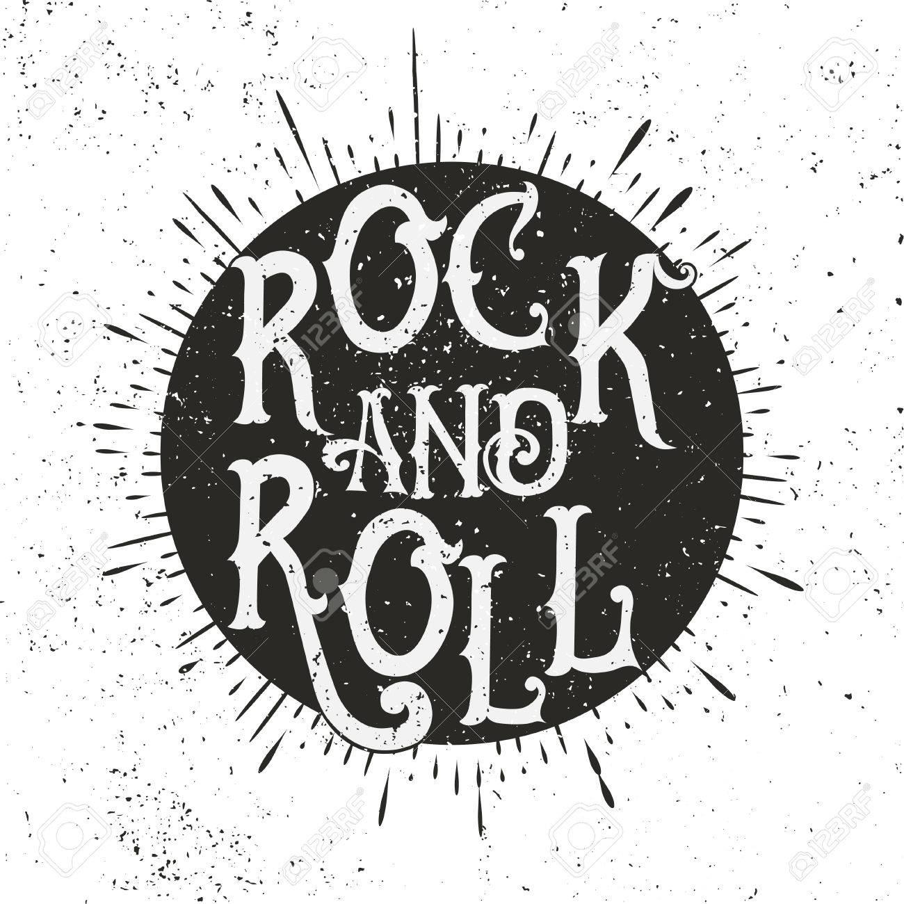 monochrome rock music print hipster vintage label graphic design