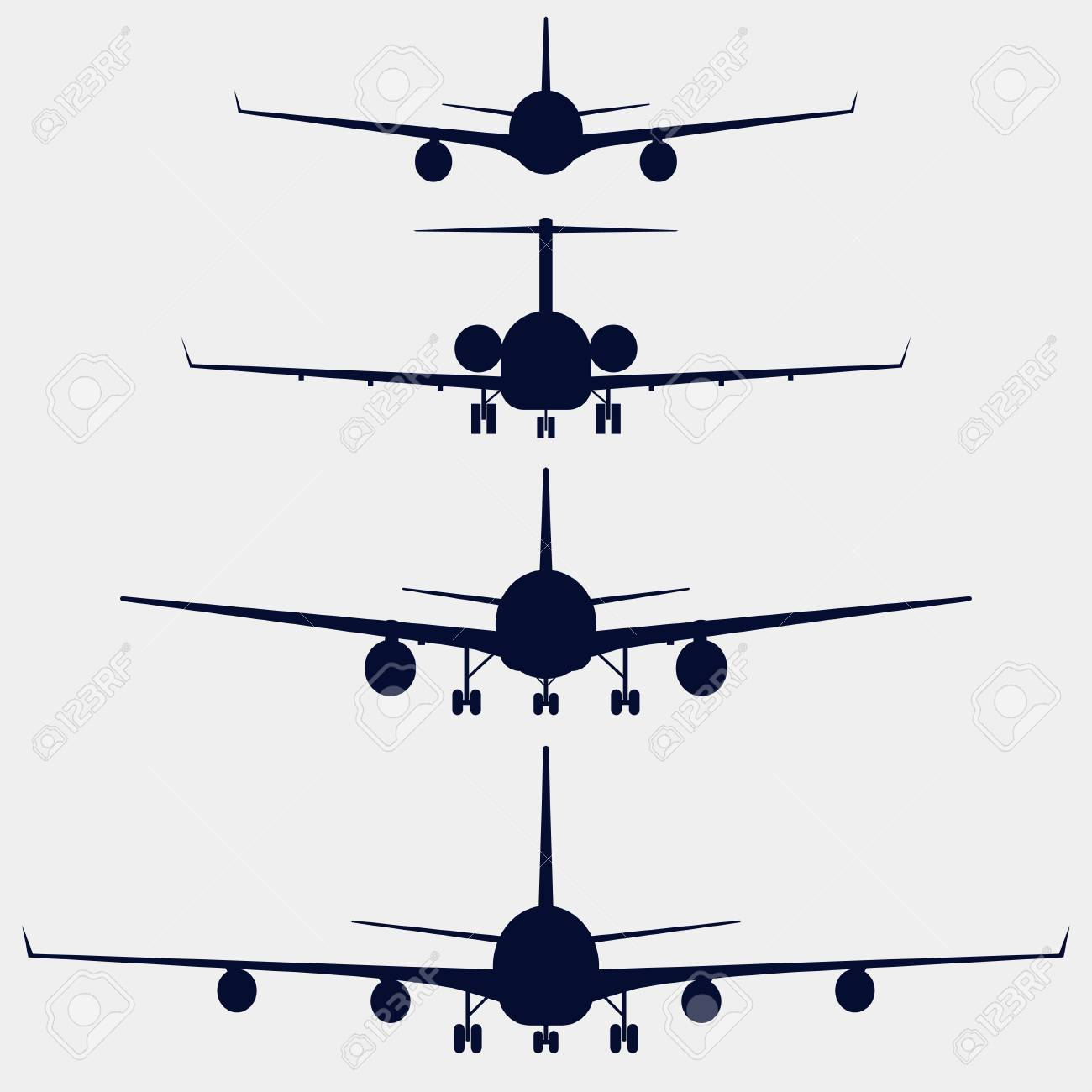 Airplanes silhouette front view, jet aircraft, plane - 60398592