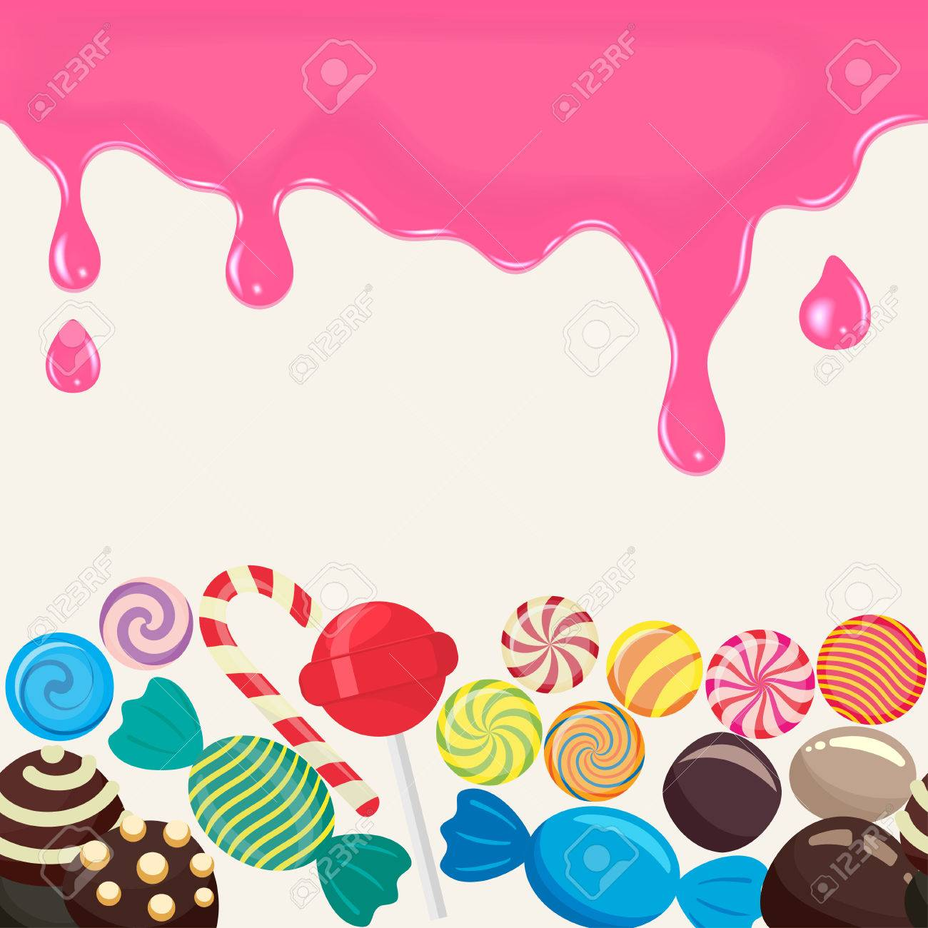 Sweet Candy Endless In The Horizontal Illustration For Menu Design Culinary Wallpaper Caramel Lollipop