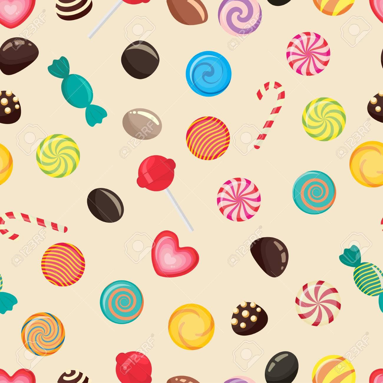 Sweet Candy Seamless Pattern, Caramel Lollipop Texture, Colored ...